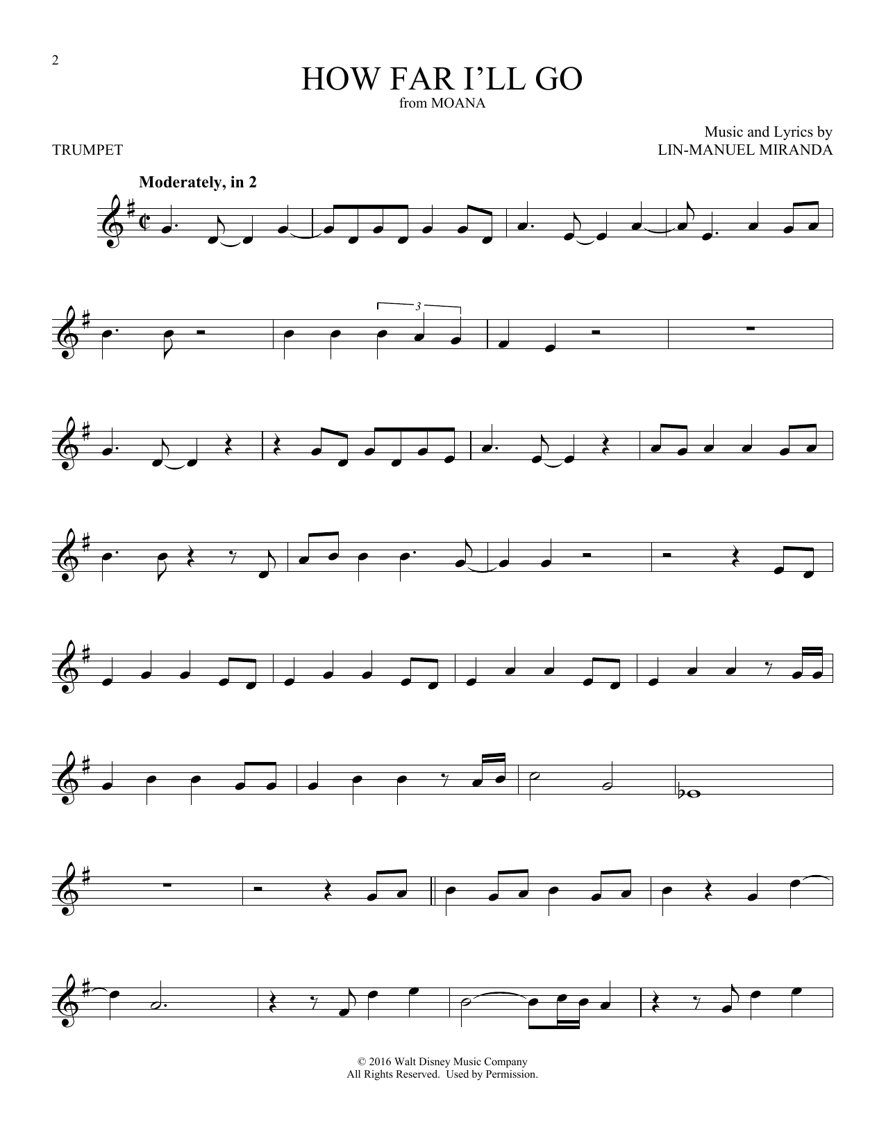 How Far I'll Go (Trumpet Solo) - Print Sheet Music Now