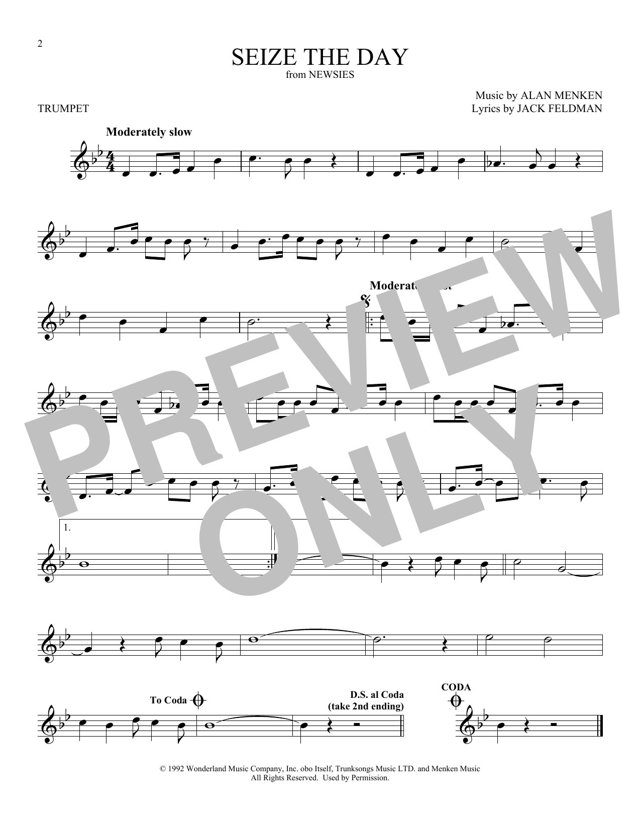 Seize The Day (from Newsies) (Trumpet Solo)