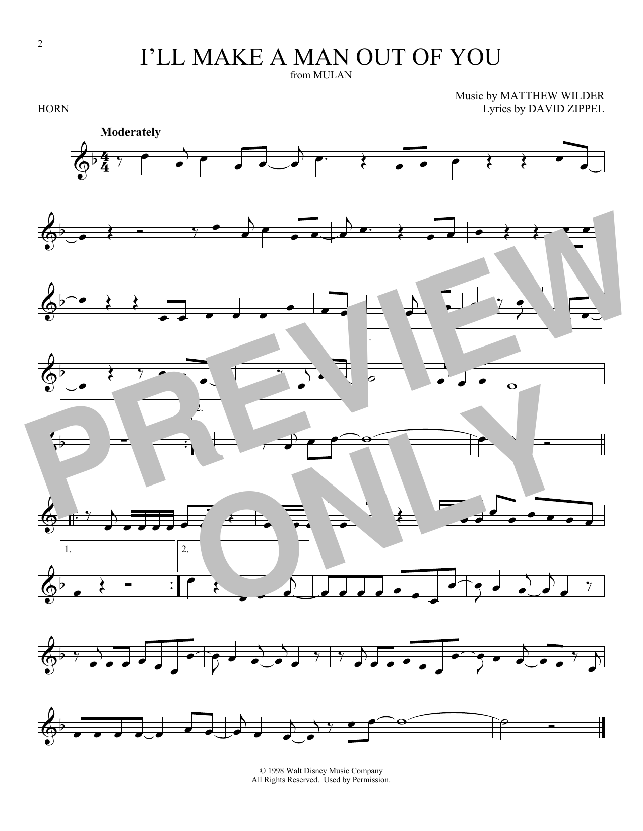 I'll Make A Man Out Of You (from Mulan) (French Horn Solo)