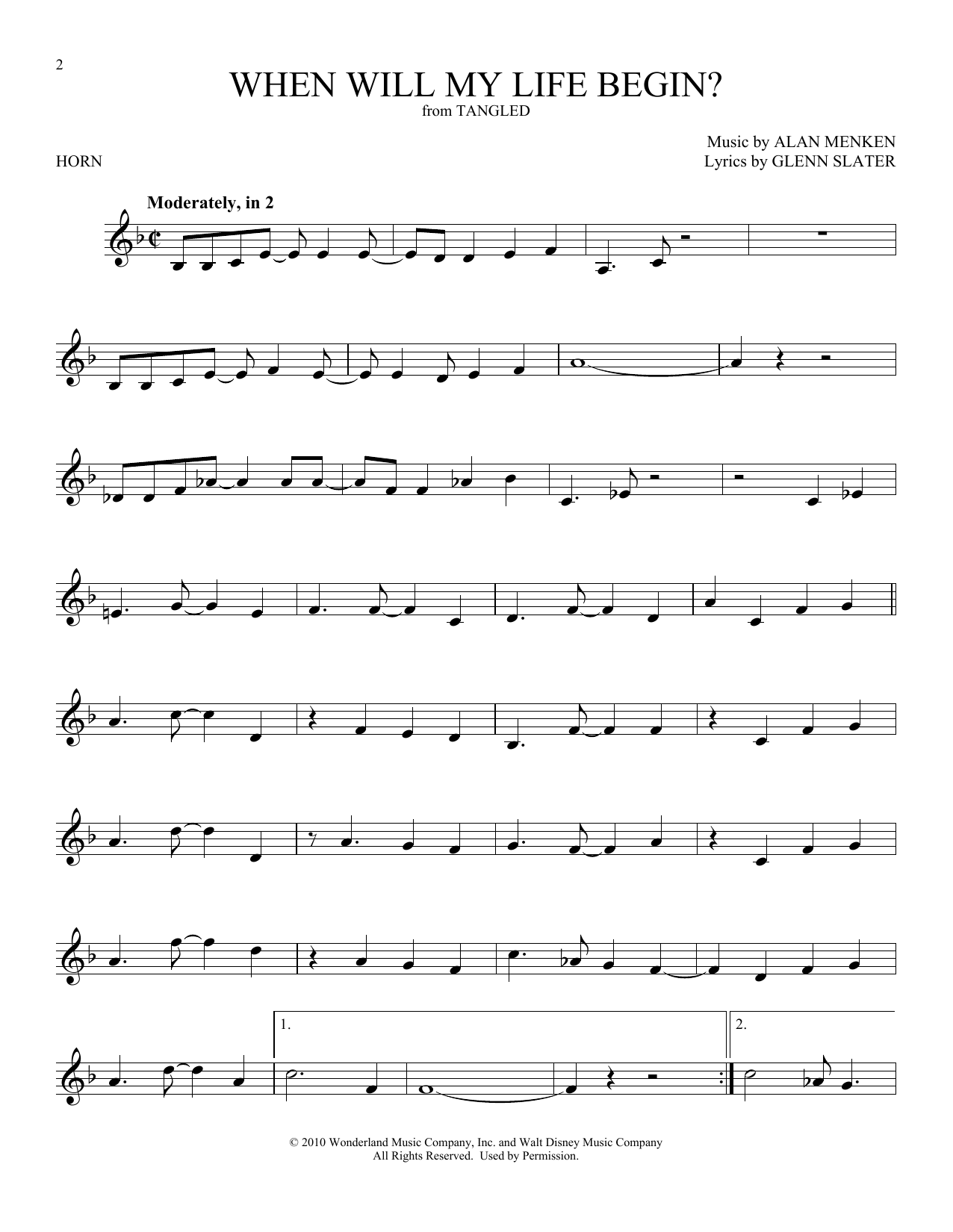 When Will My Life Begin? (from Disney's Tangled) (French Horn Solo)