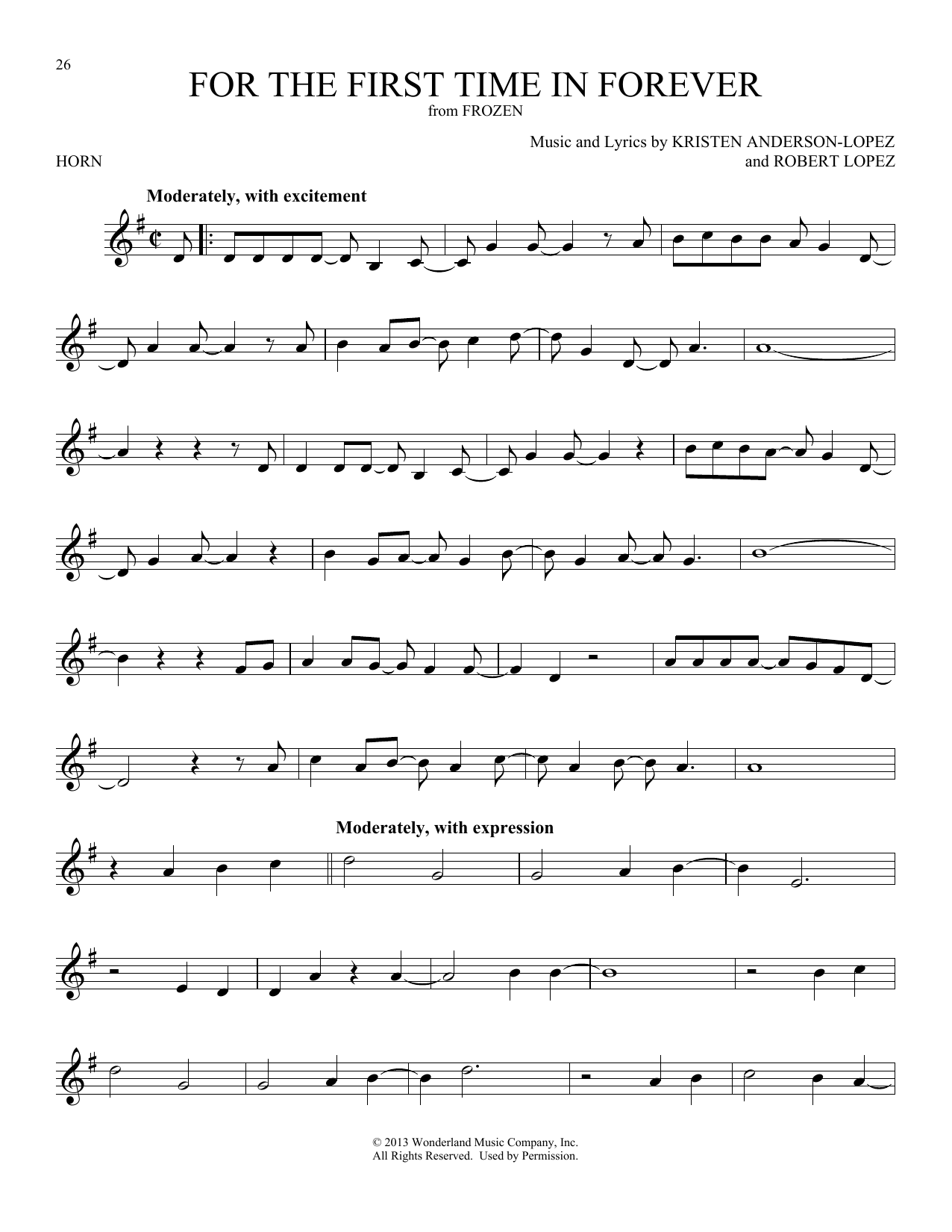 For The First Time In Forever (from Disney's Frozen) (French Horn Solo)