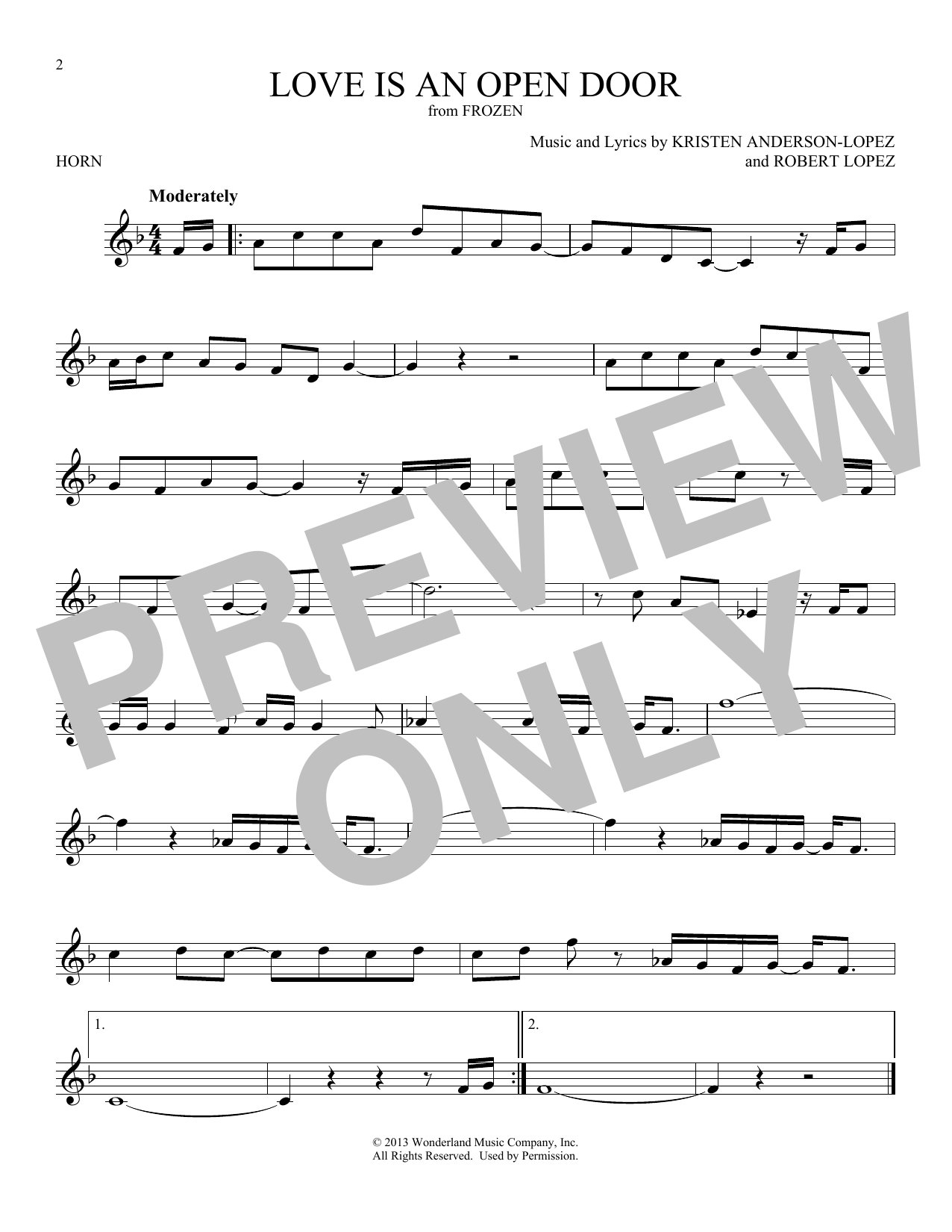 Love Is An Open Door (from Disney's Frozen) (French Horn Solo)