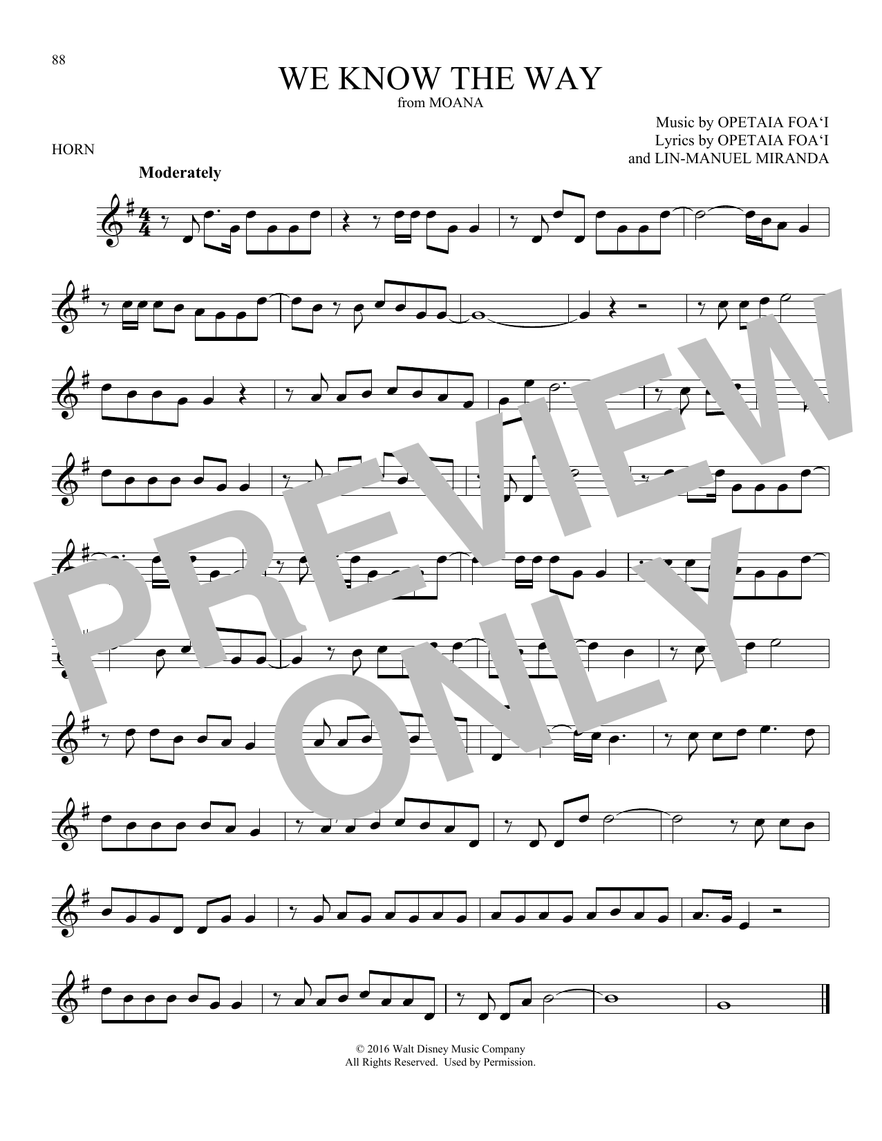 We Know The Way (from Moana) (French Horn Solo)