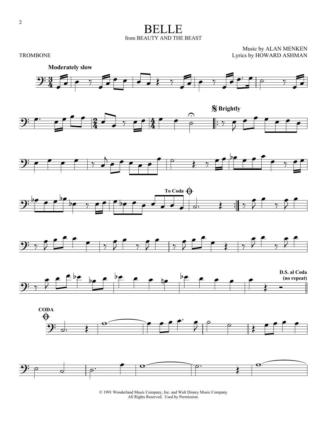 Belle From Beauty And The Beast Sheet Music Alan Menken Trombone Solo