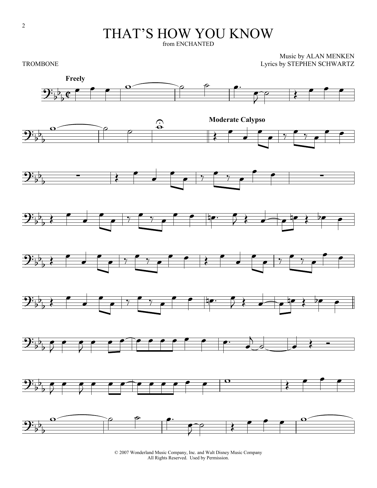 That's How You Know (from Enchanted) (Trombone Solo)