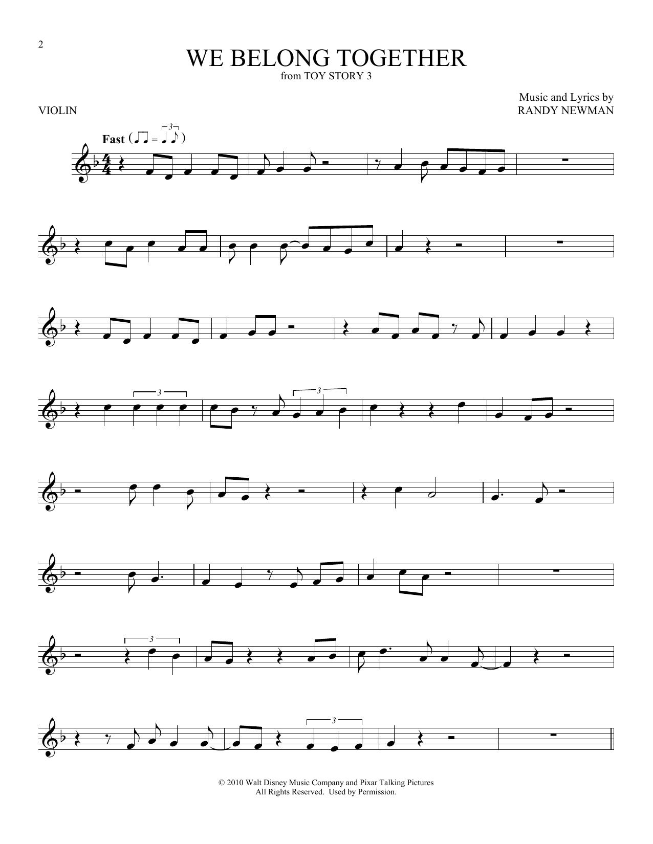 We Belong Together (from Toy Story 3) (Violin Solo)