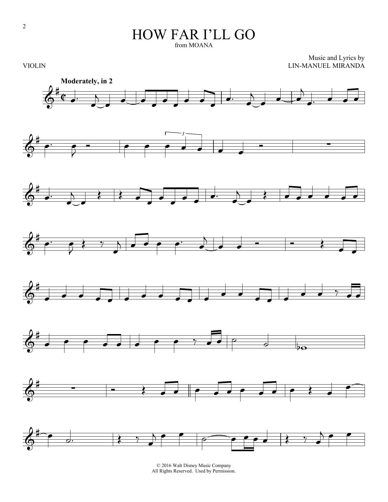 How Far Ill Go From Moana Violin Solo Print Sheet Music Now