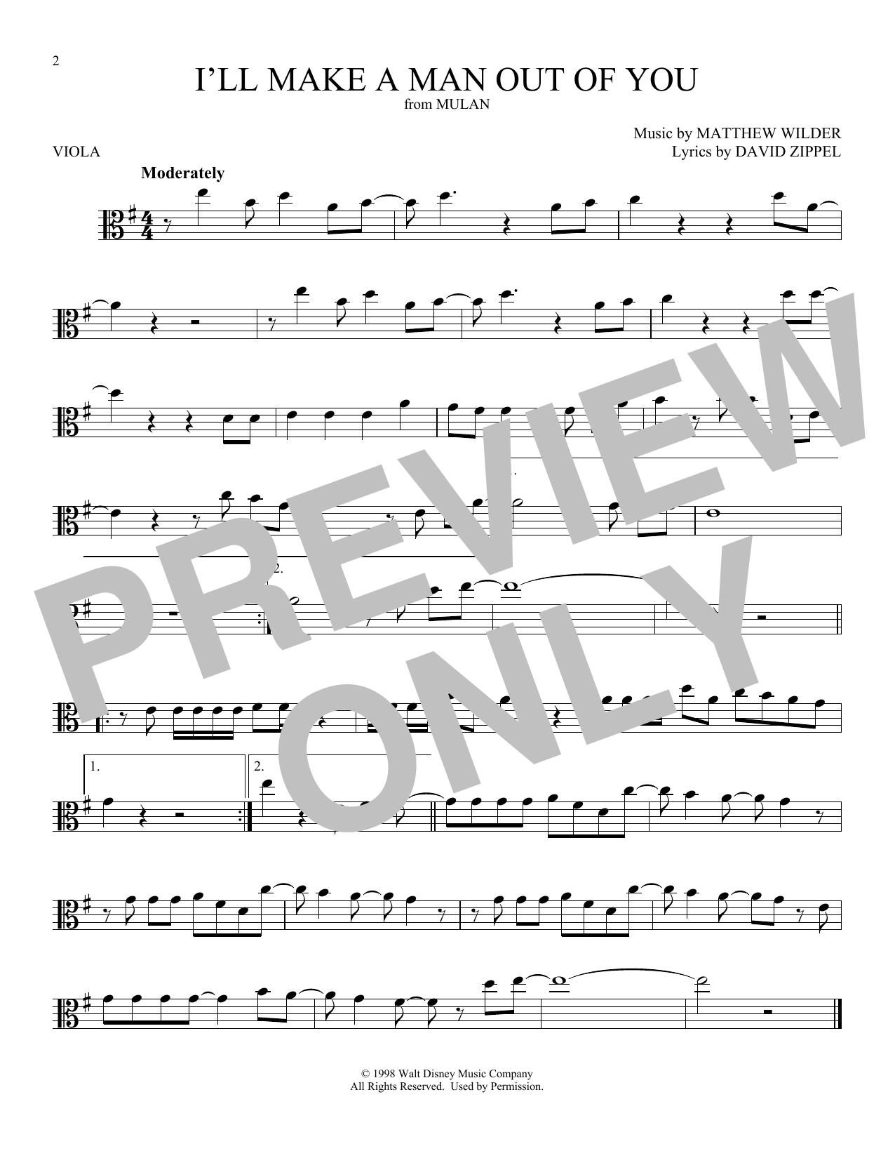 I'll Make A Man Out Of You (Viola Solo) - Print Sheet Music Now