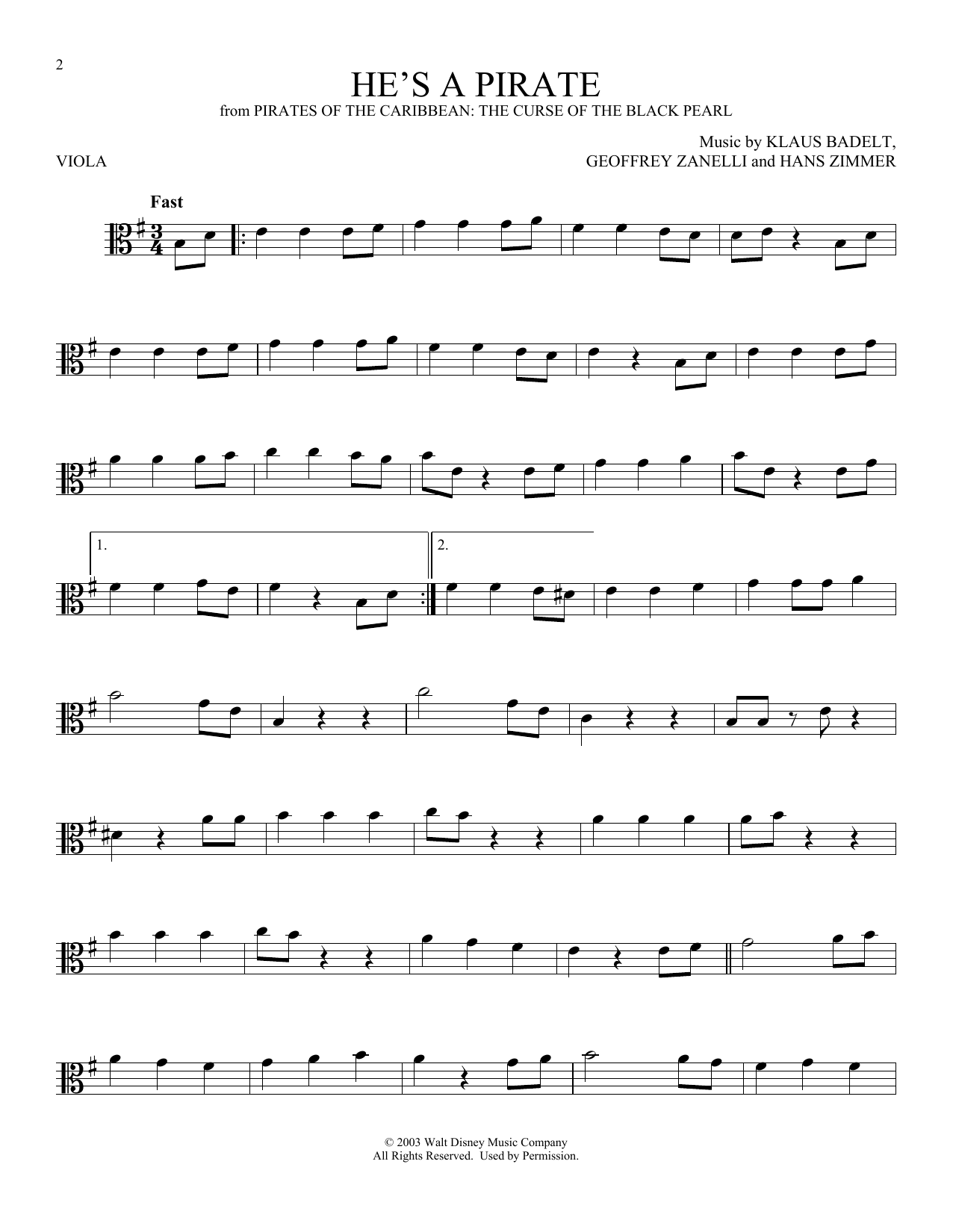 He's A Pirate (from Pirates Of The Caribbean: The Curse of the Black Pearl) (Viola Solo)