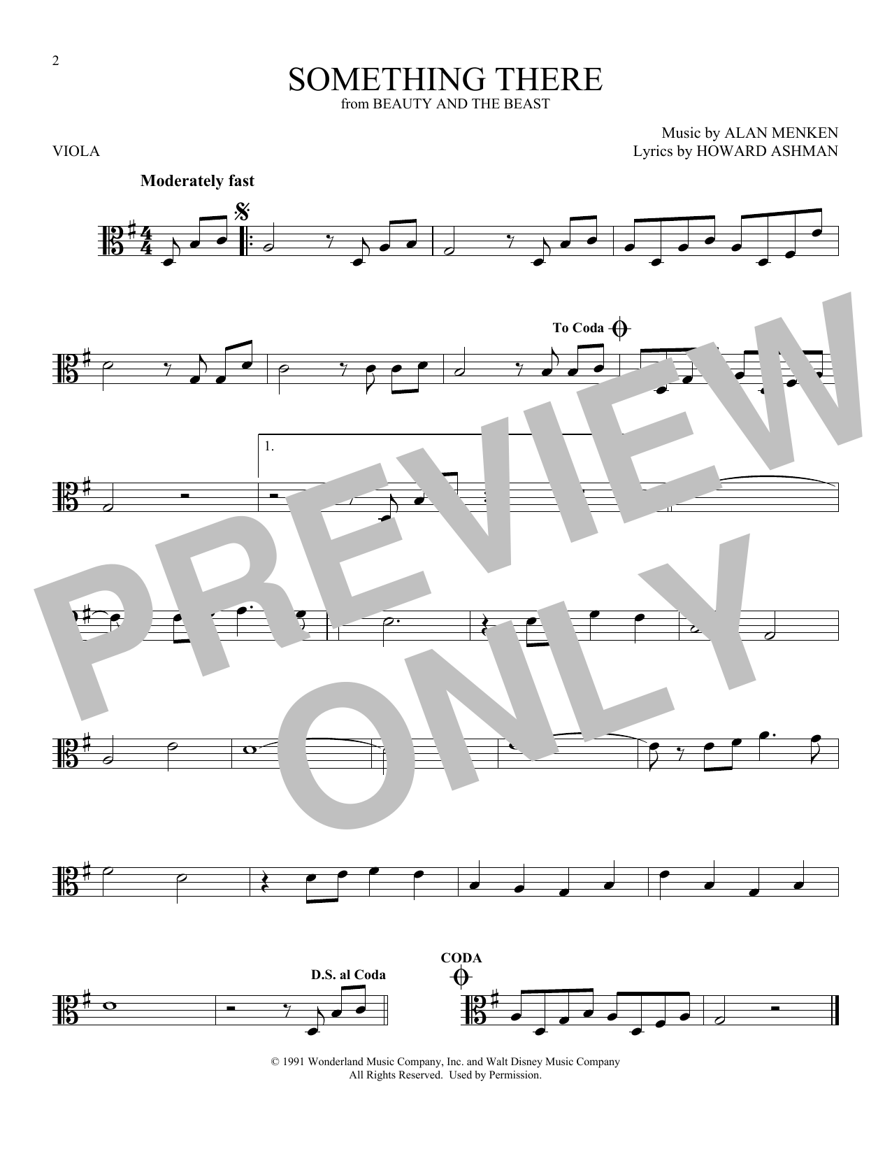 Something There (from Beauty And The Beast) (Viola Solo)