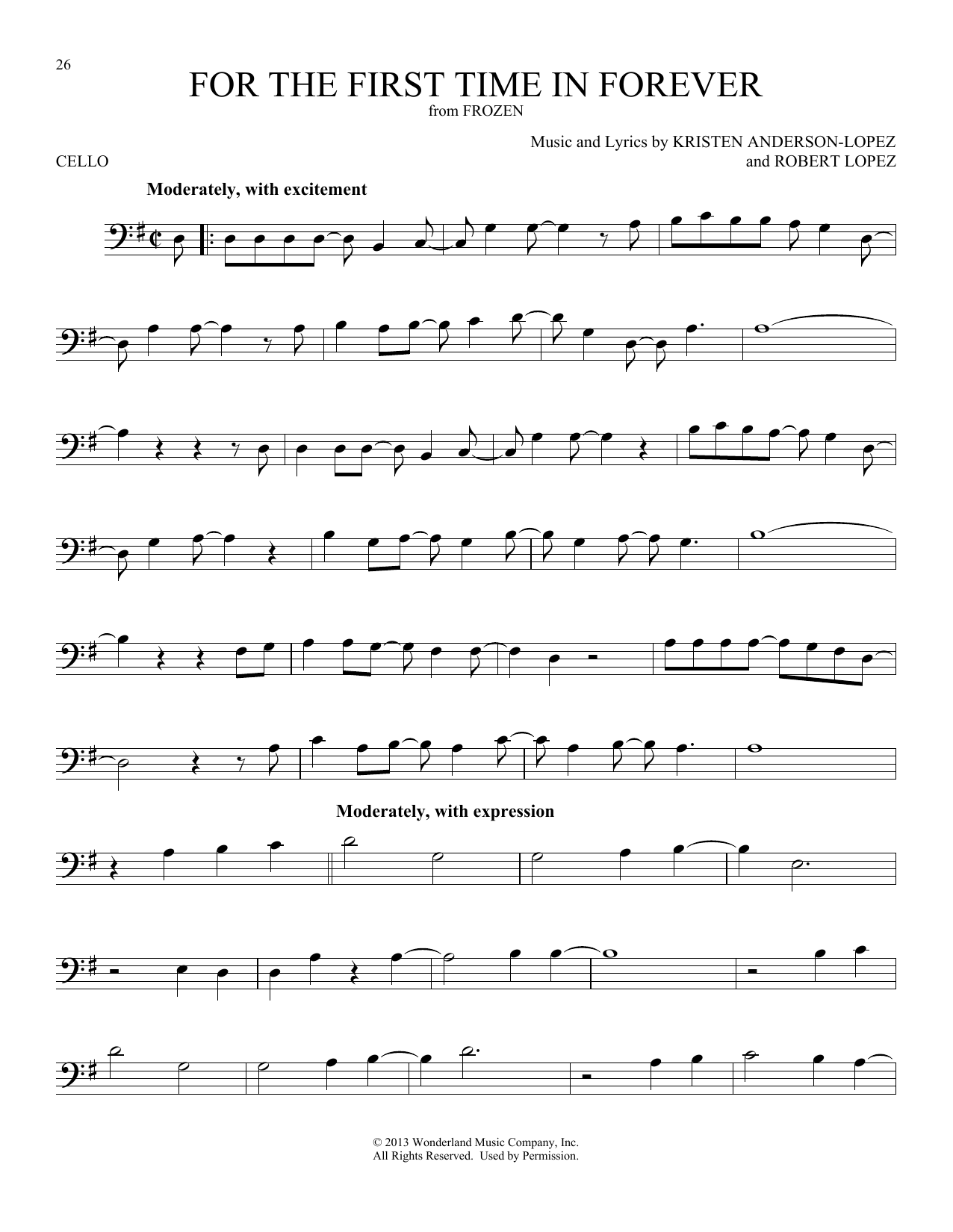 For The First Time In Forever (from Disney's Frozen) (Cello Solo)