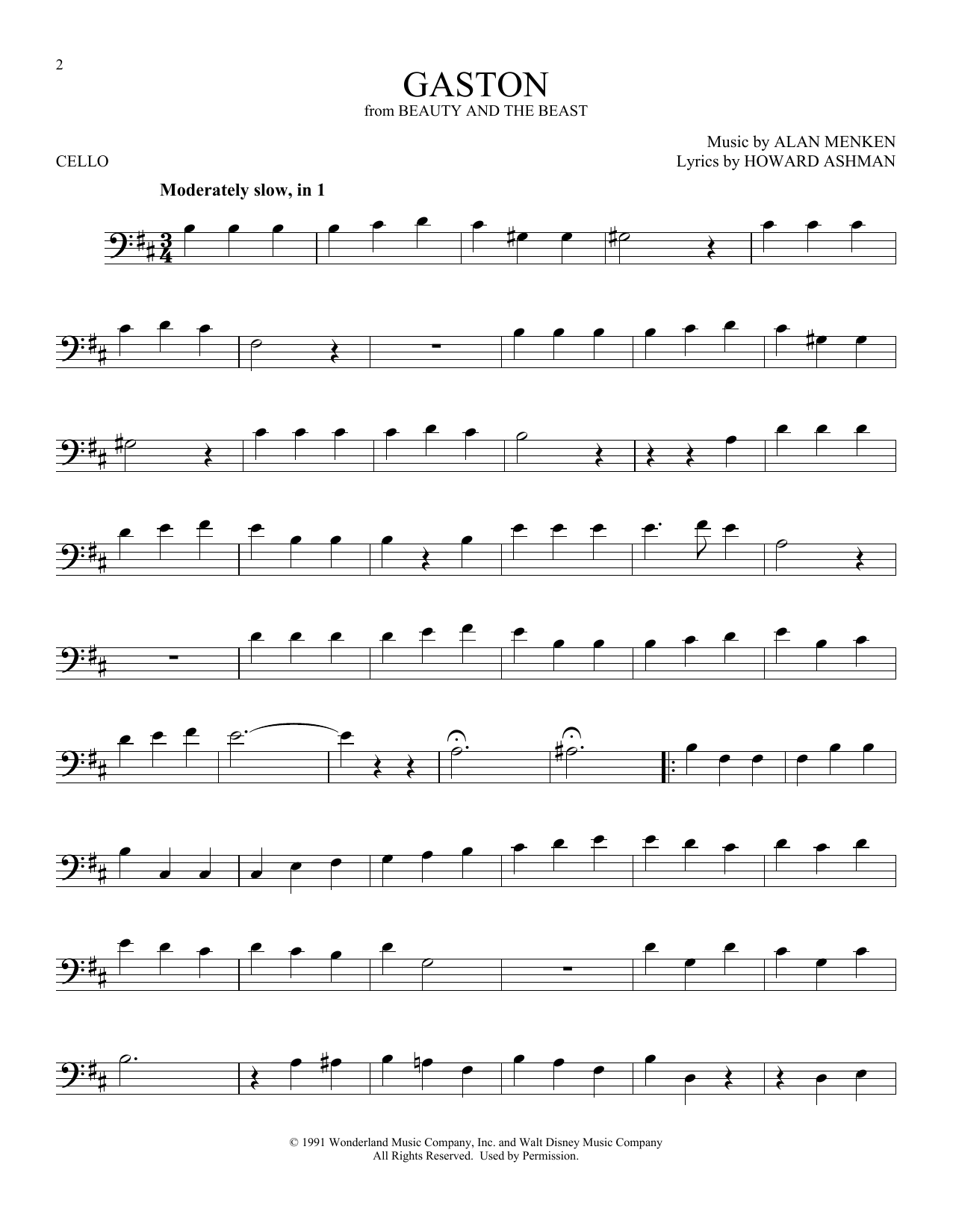 Gaston From Beauty And The Beast Sheet Music Alan Menken Cello Solo