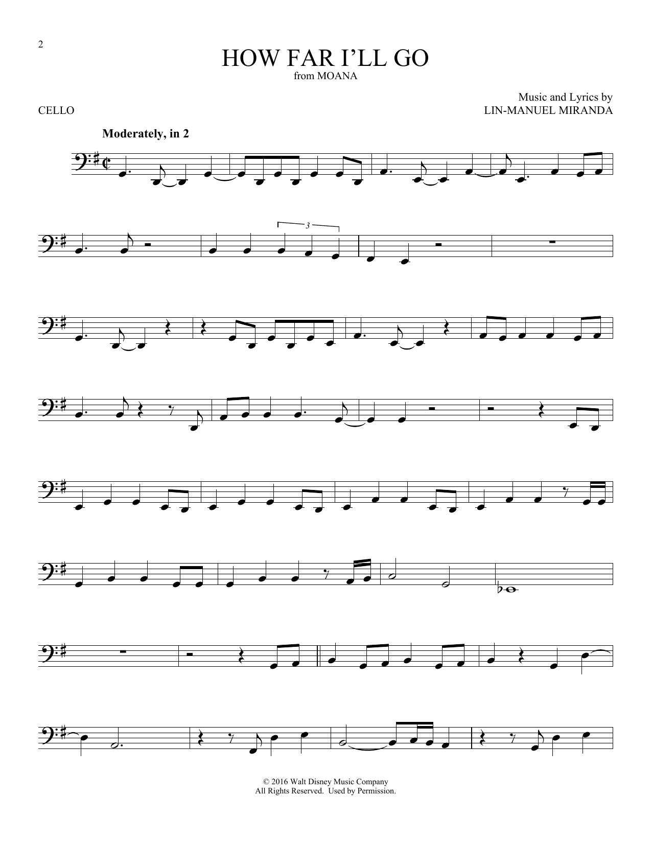 How Far I'll Go (from Moana) (Cello Solo)