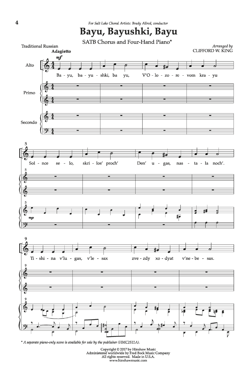 Bayu, Bayushki, Bayu Sheet Music