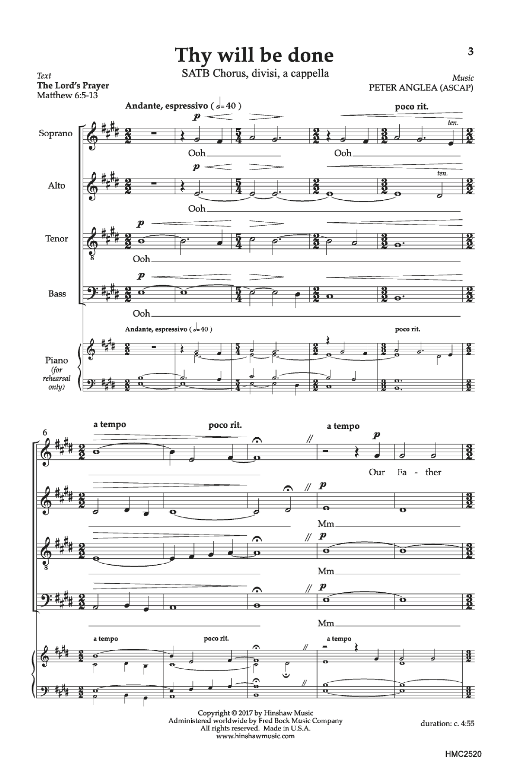 Thy Will Be Done Sheet Music