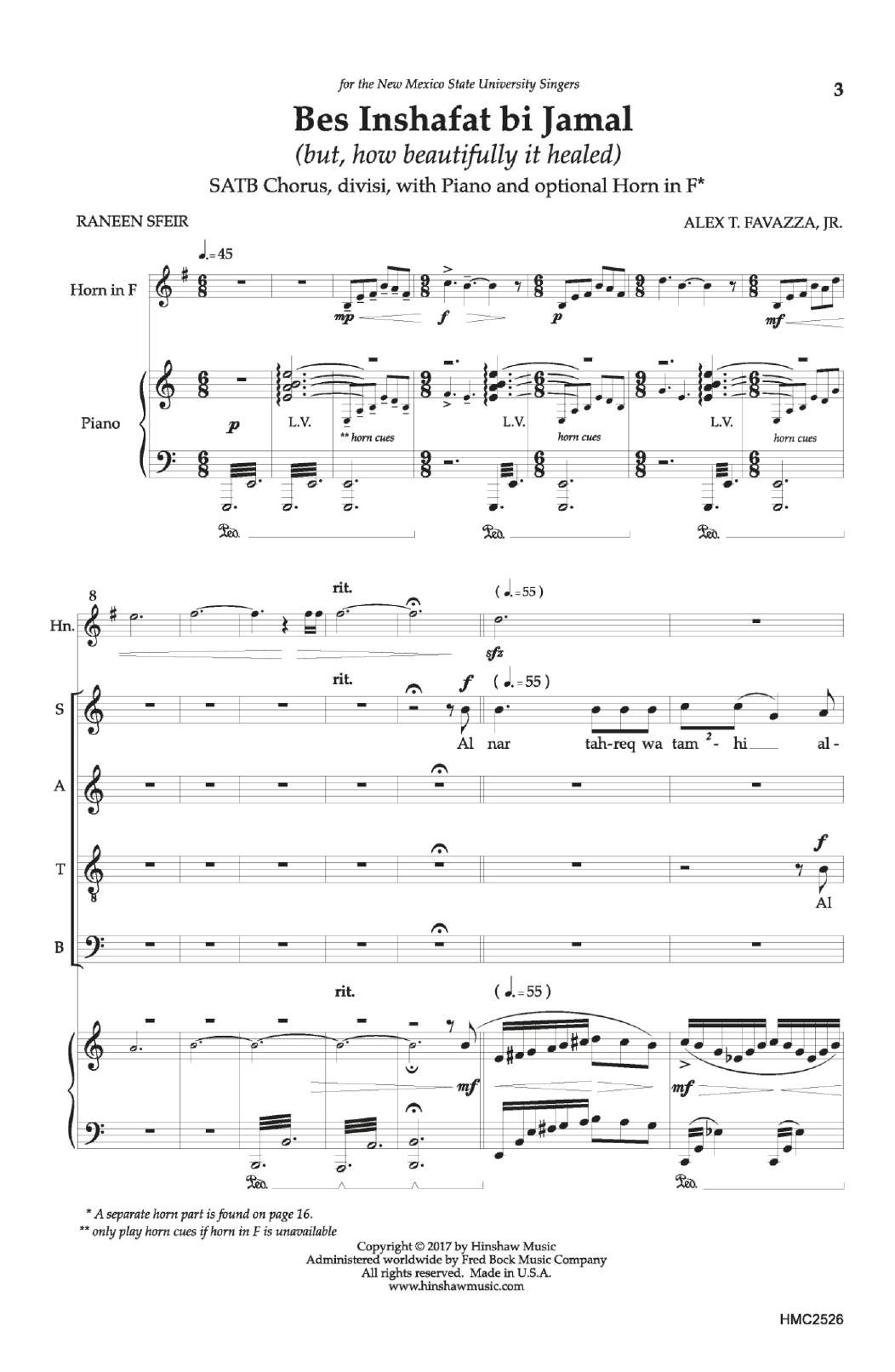 Bes Inshafat bi Jamal (but, how beautifully it healed) Sheet Music