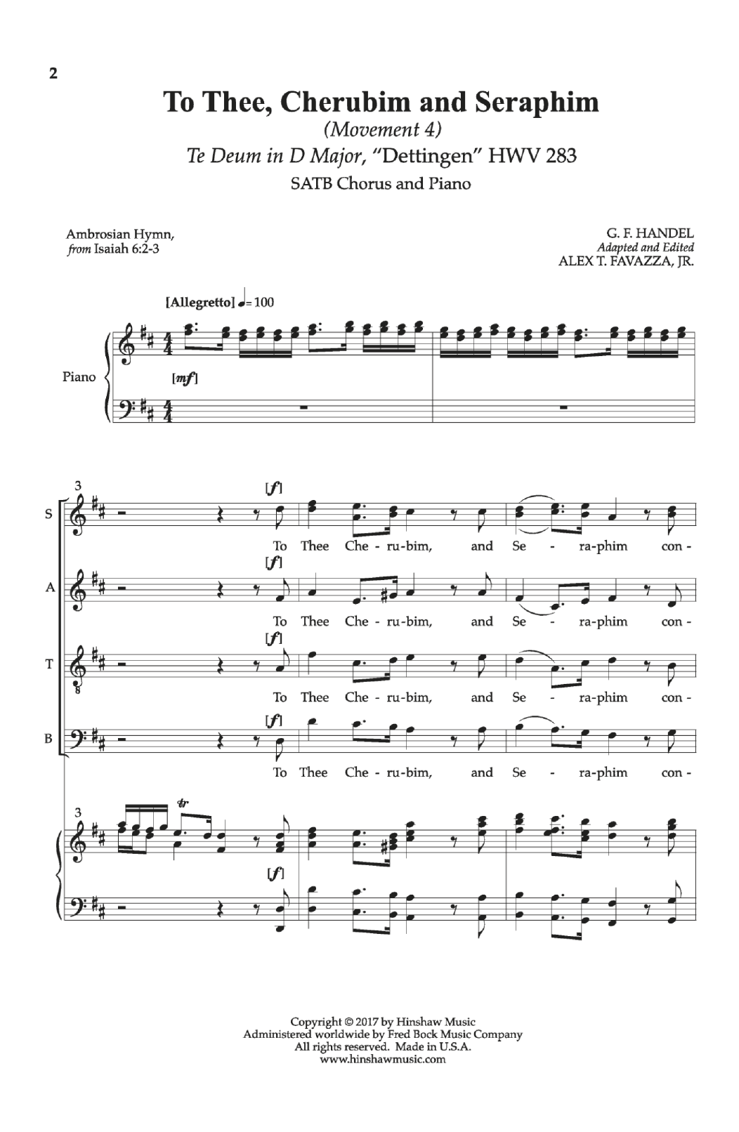 To Thee, Cherubim And Seraphim Sheet Music