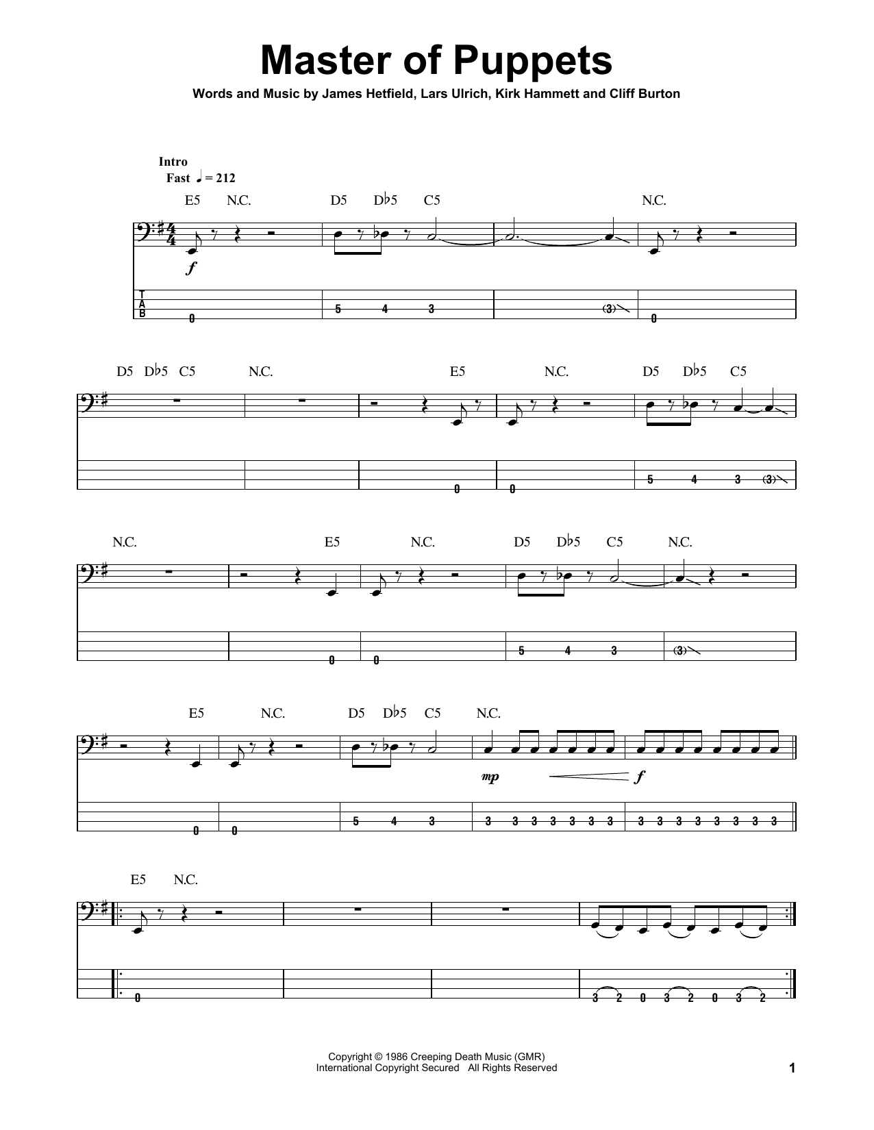 Master Of Puppets (Bass Guitar Tab)