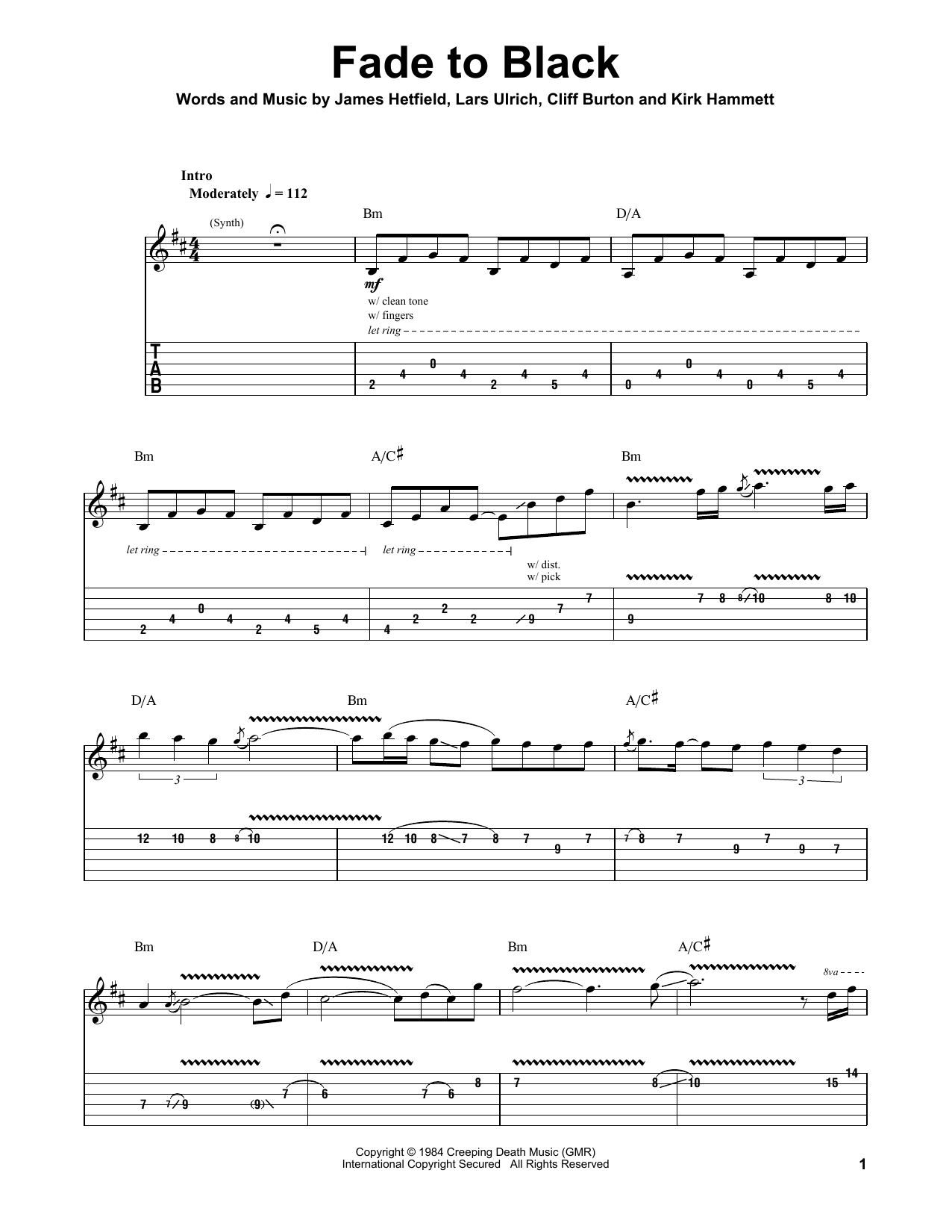 Fade To Black Sheet Music