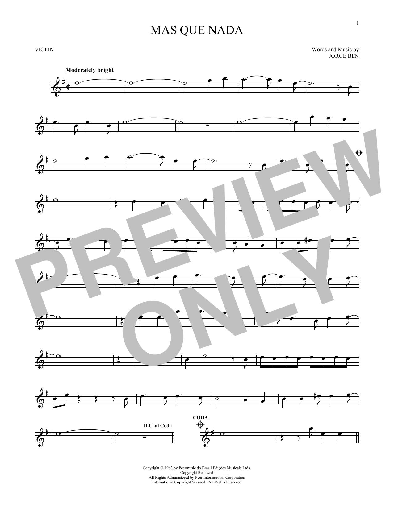 Mas Que Nada (Violin Solo)