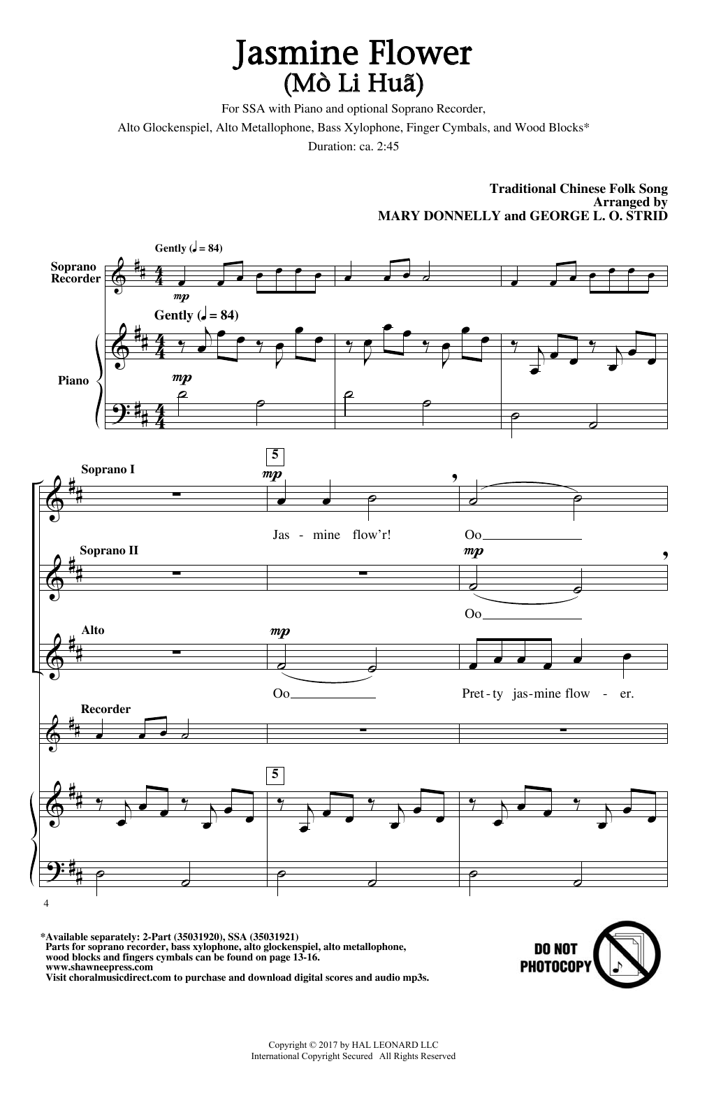 Jasmine Flower (Mo Li Hua) Sheet Music