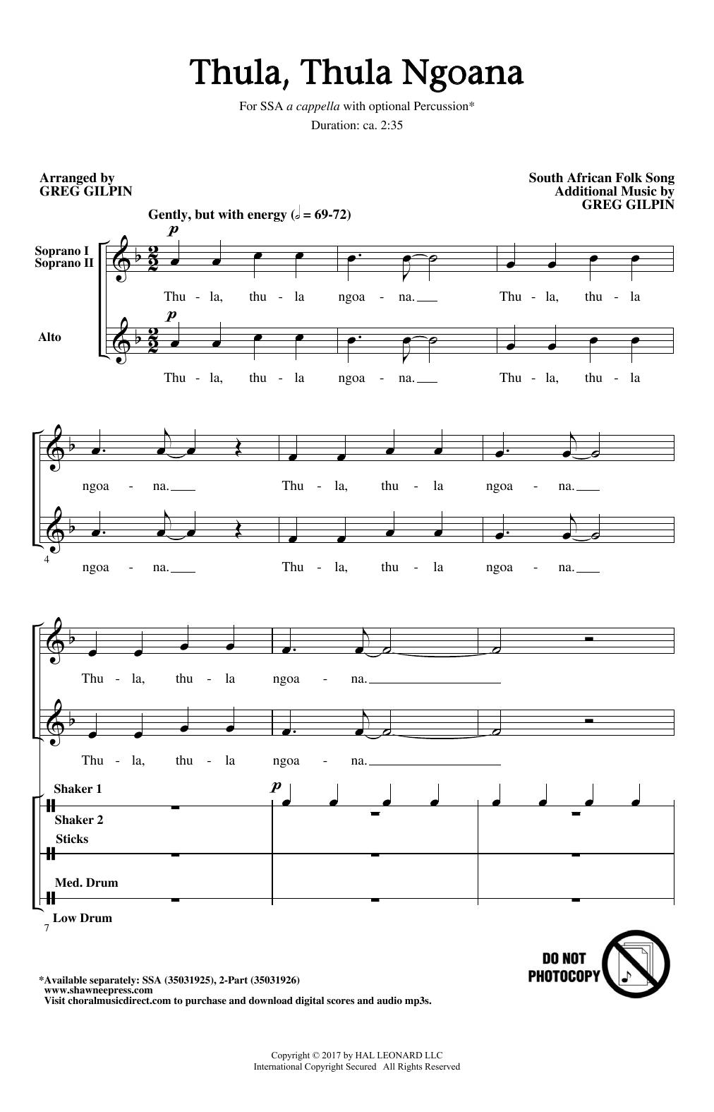 Thula Thula Ngoana Sheet Music