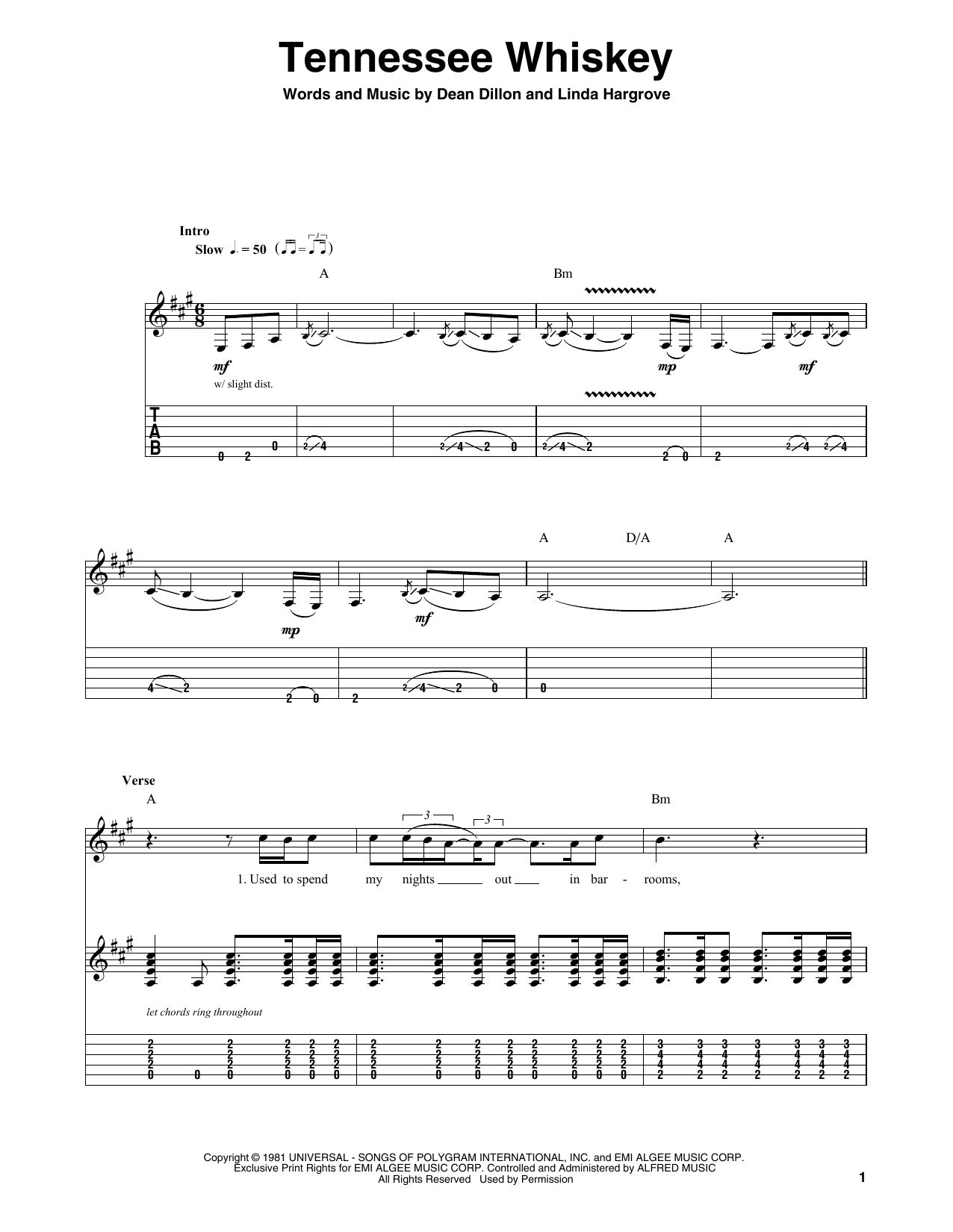 Tennessee Whiskey Sheet Music