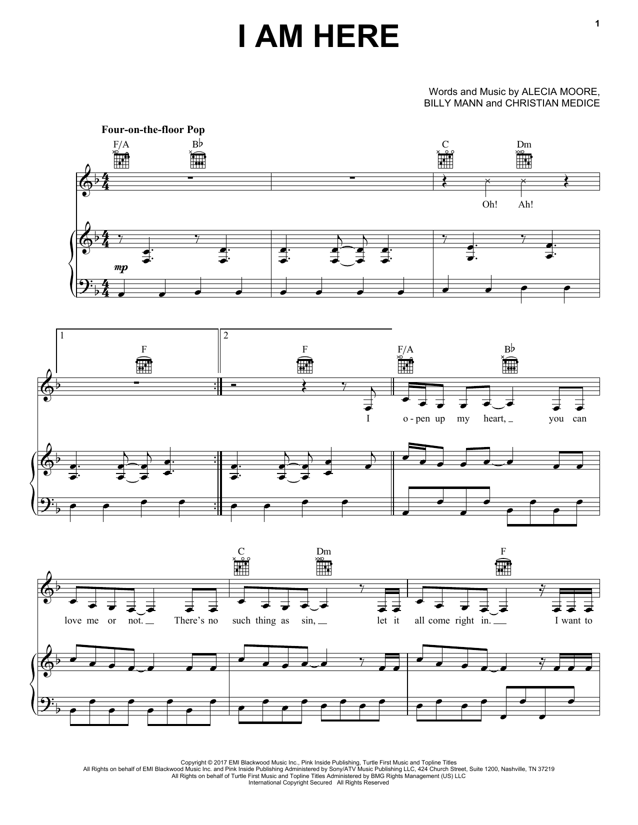 I Am Here (Piano, Vocal & Guitar (Right-Hand Melody))
