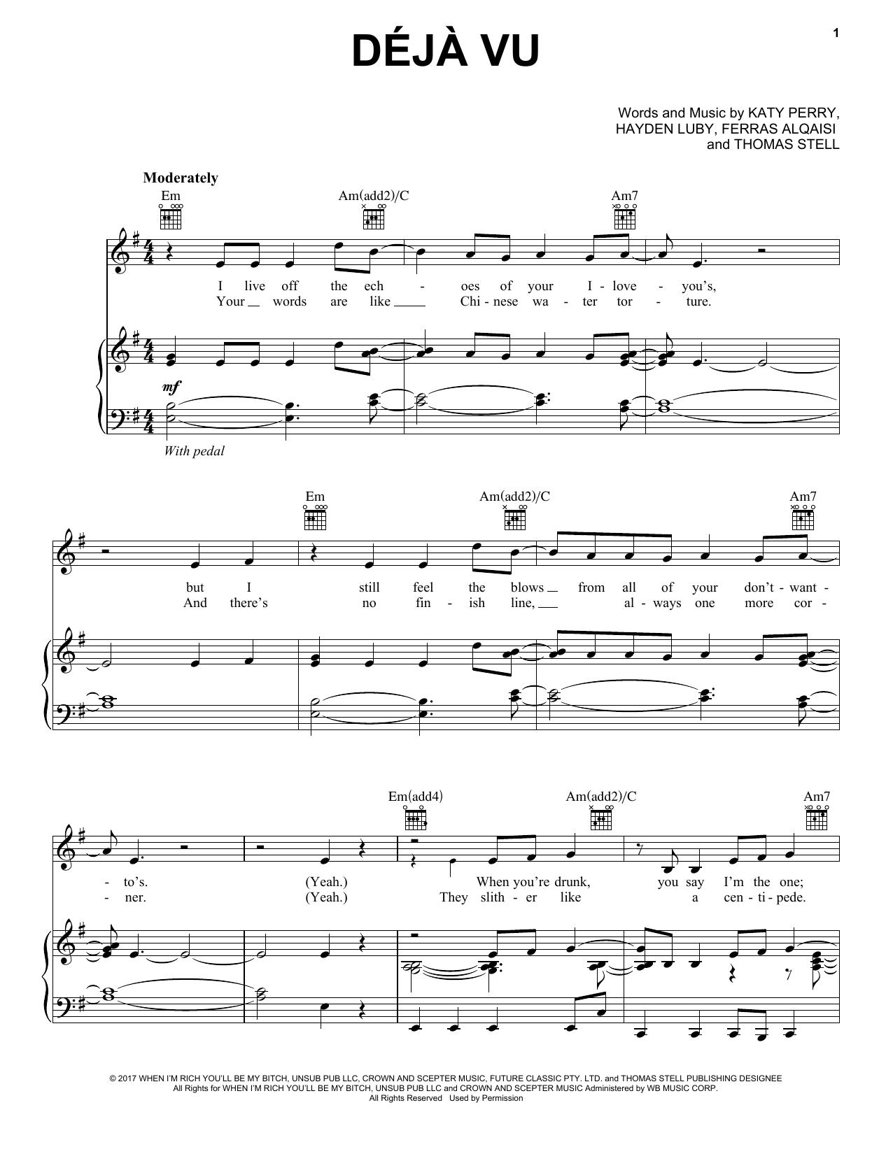 Deja Vu (Piano, Vocal & Guitar (Right-Hand Melody))