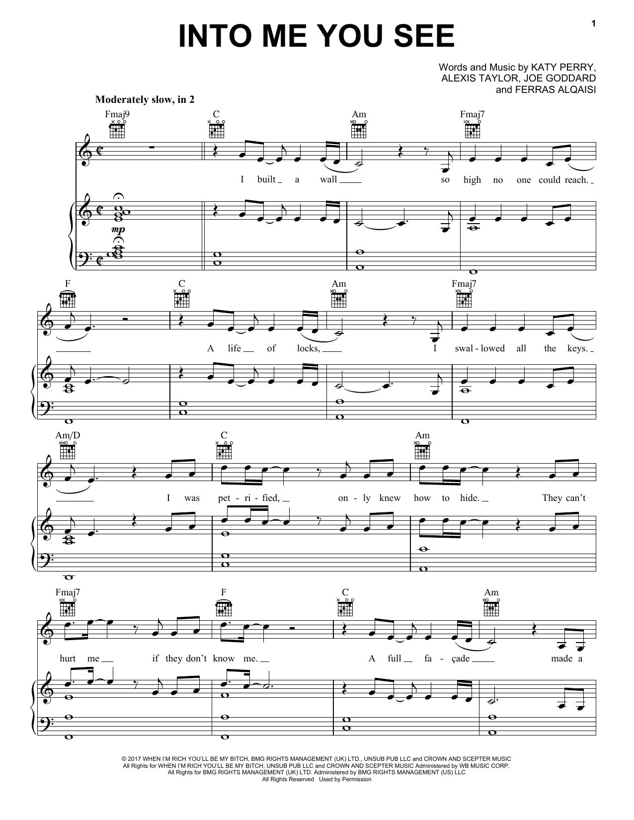 Into Me You See (Piano, Vocal & Guitar (Right-Hand Melody))
