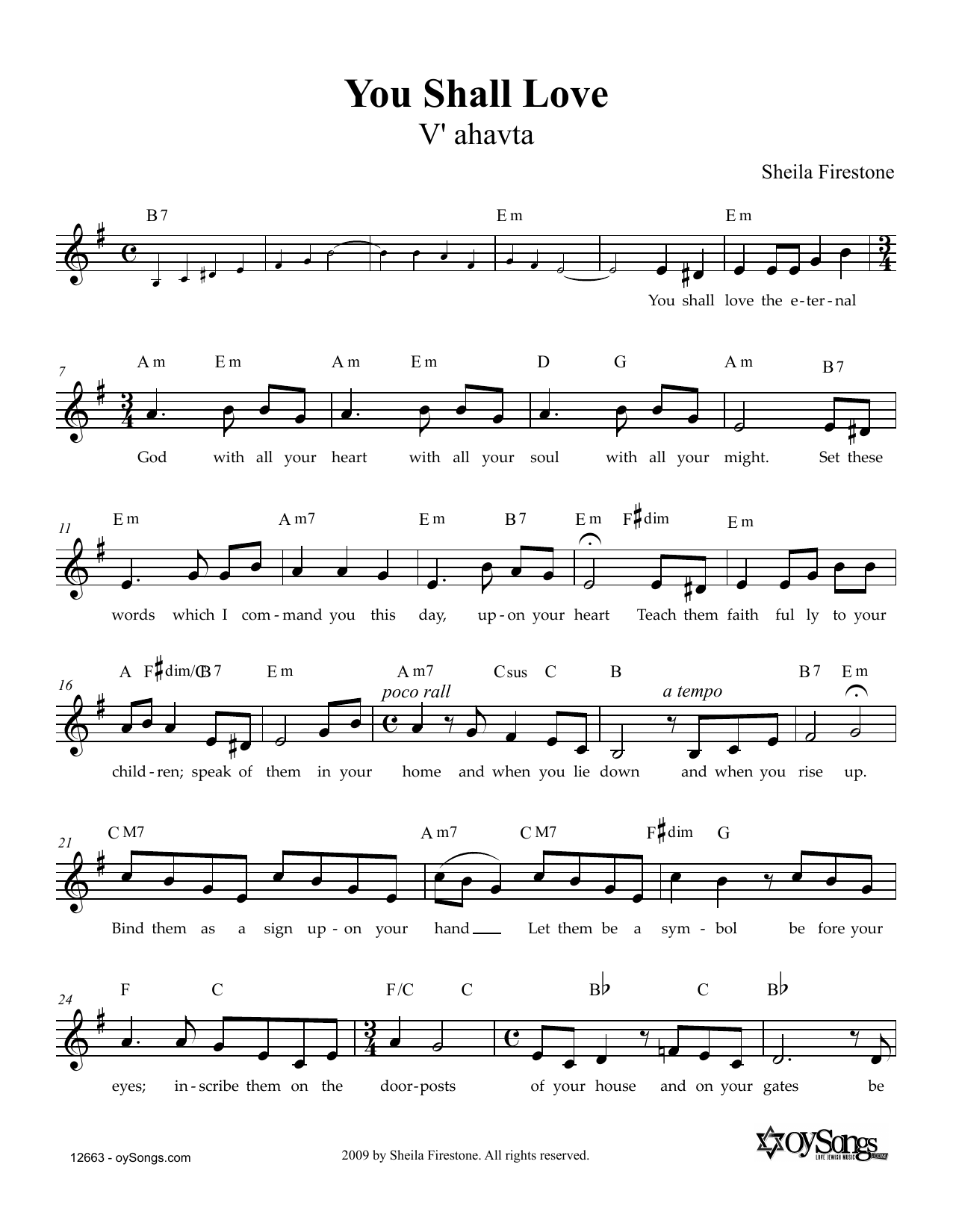 You Shall Love Sheet Music