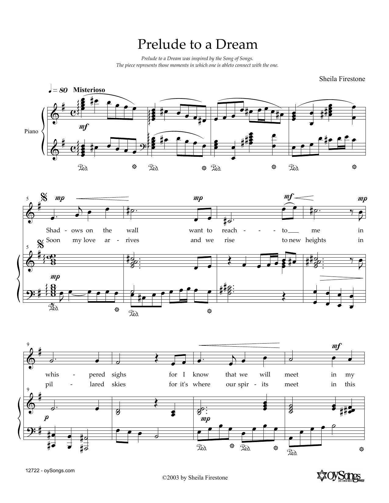 Prelude To A Dream Sheet Music