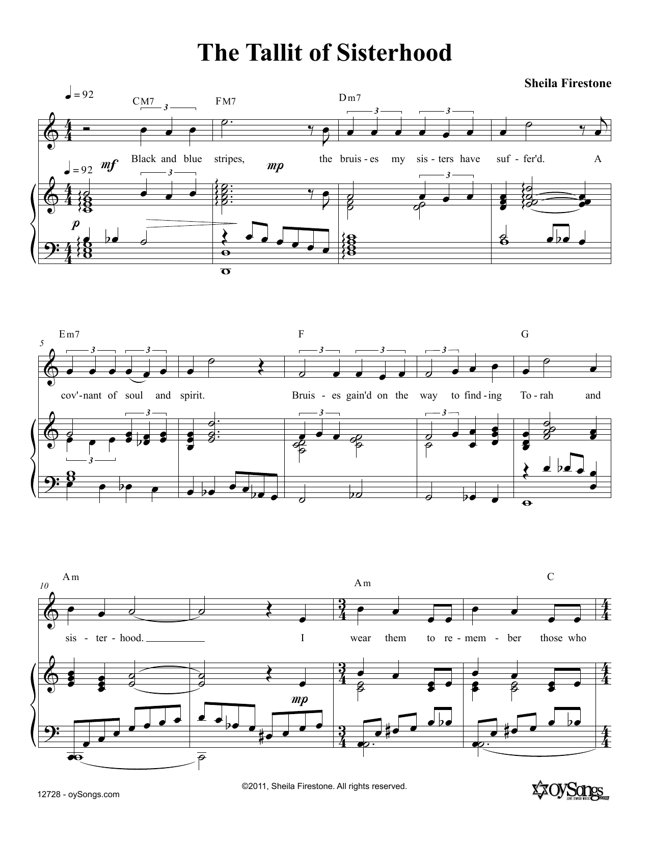 Tallit of Sisterhood Sheet Music