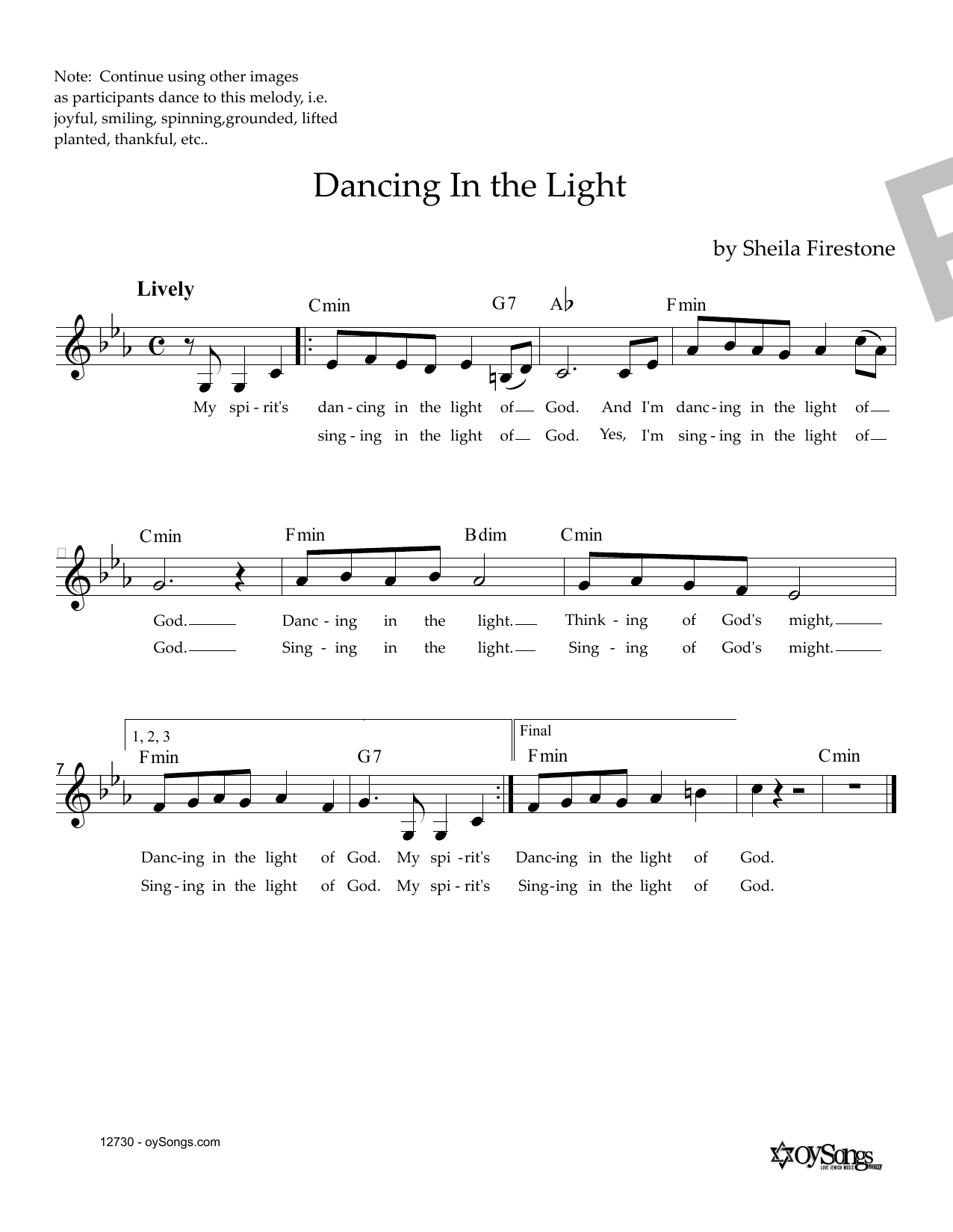 Dancing In The Light Sheet Music