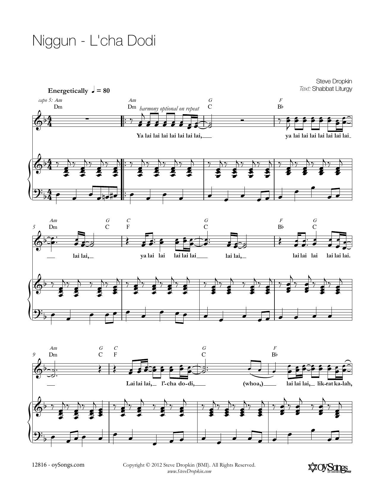 Niggun - L'chah Dodi Sheet Music