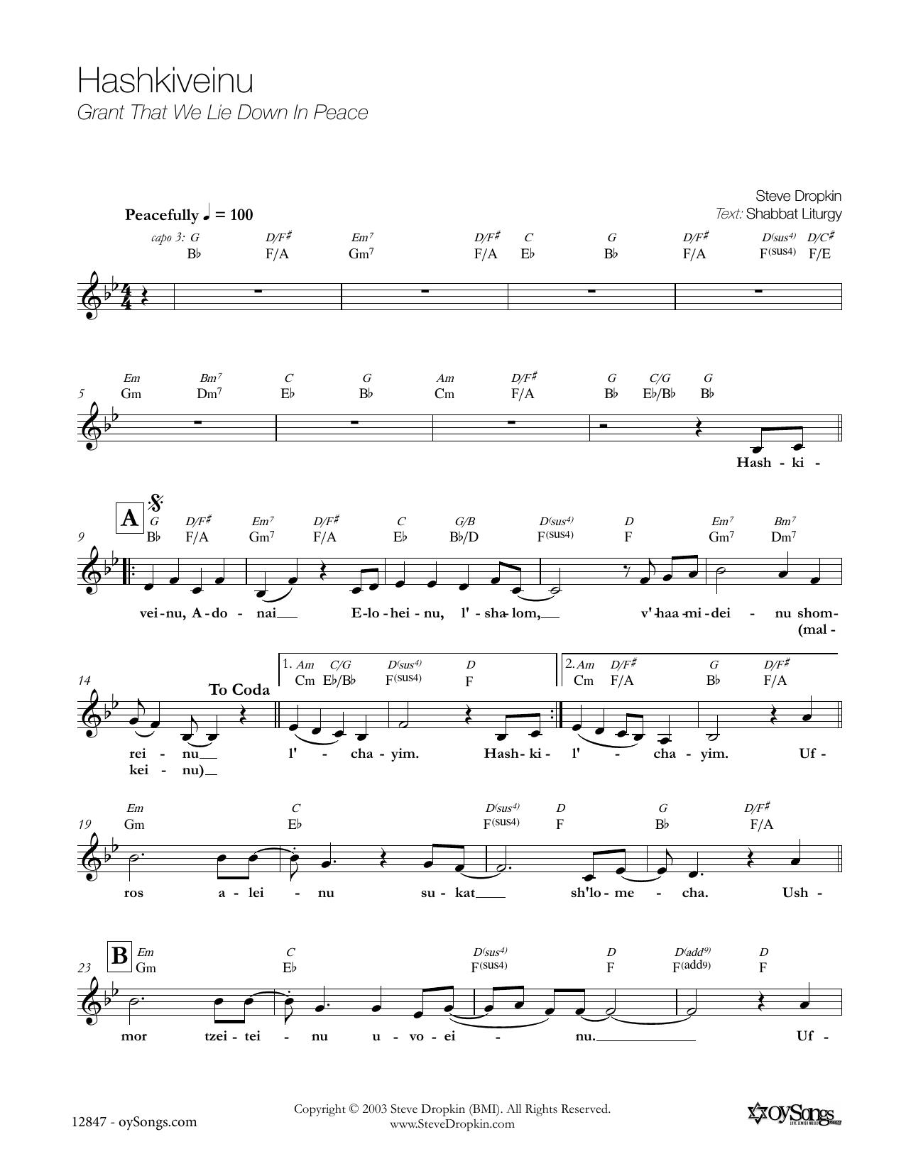 Hashkiveinu Sheet Music