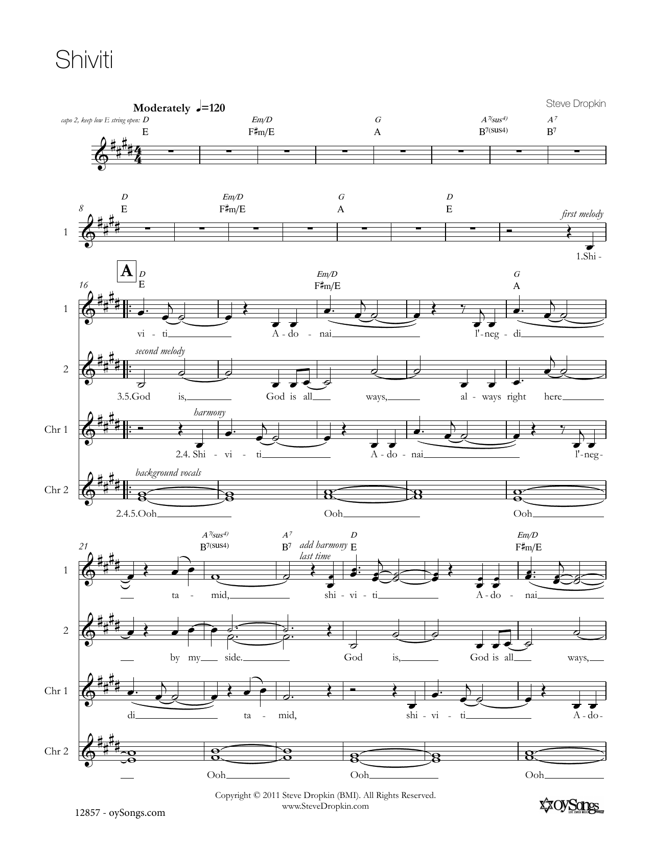 Shiviti Sheet Music