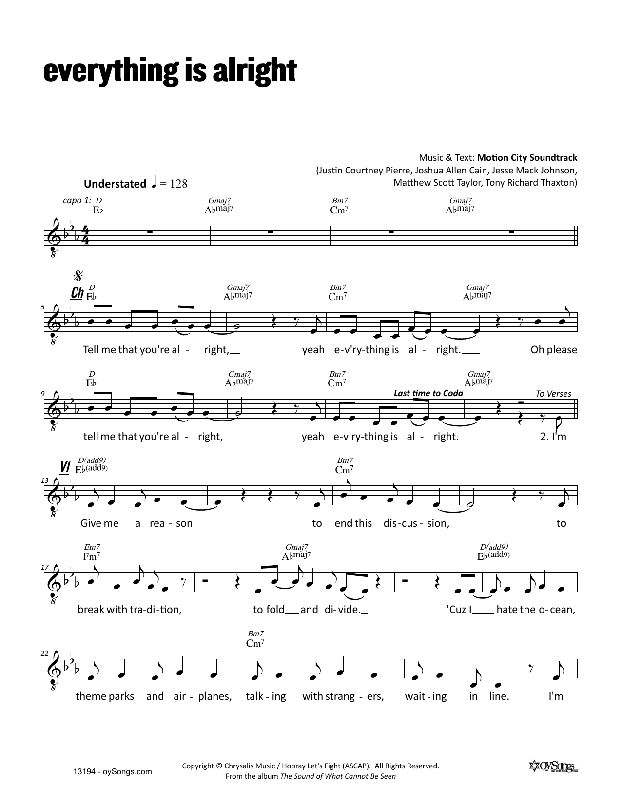 Everything Is Alright Sheet Music