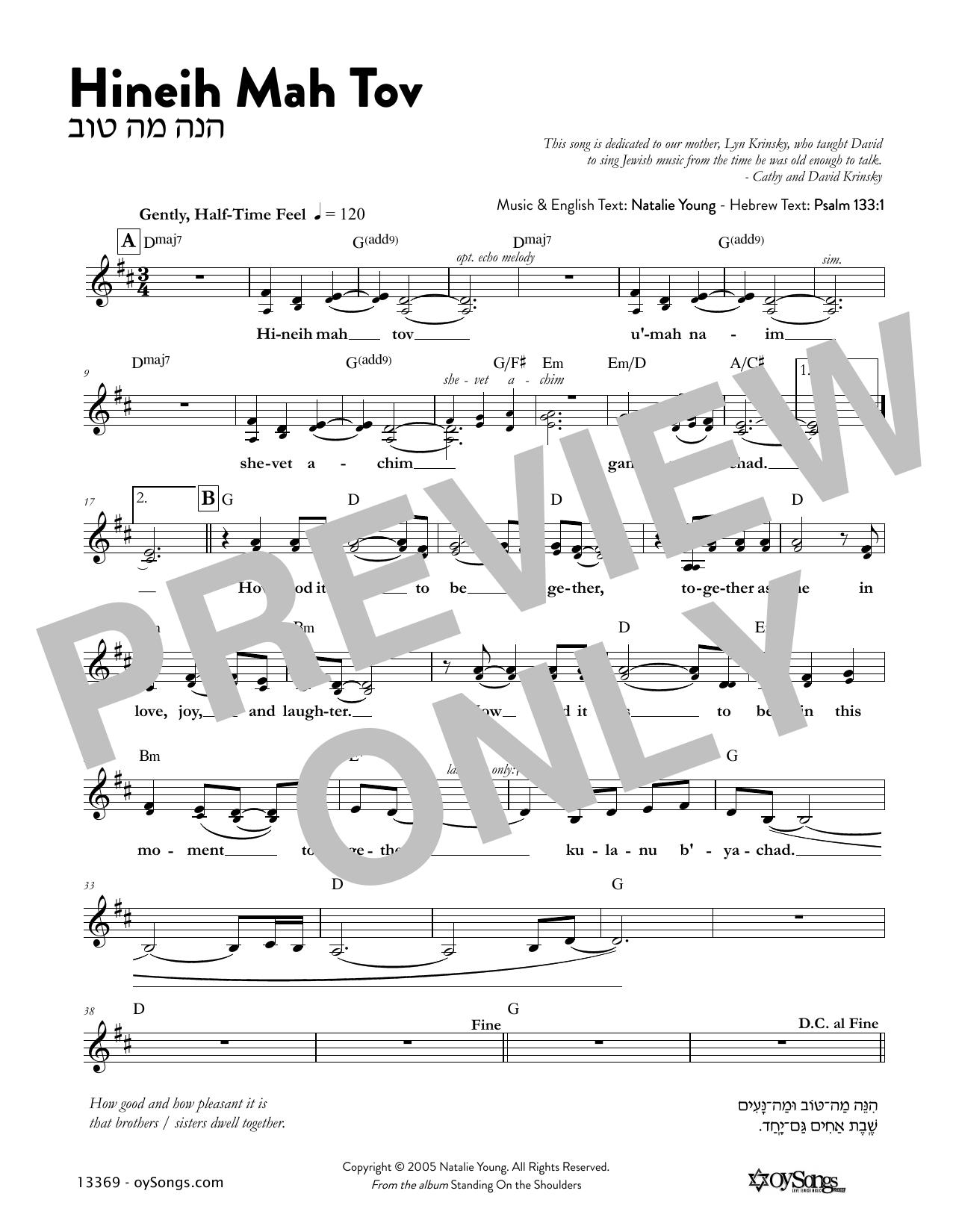 Hineih Mah Tov Sheet Music