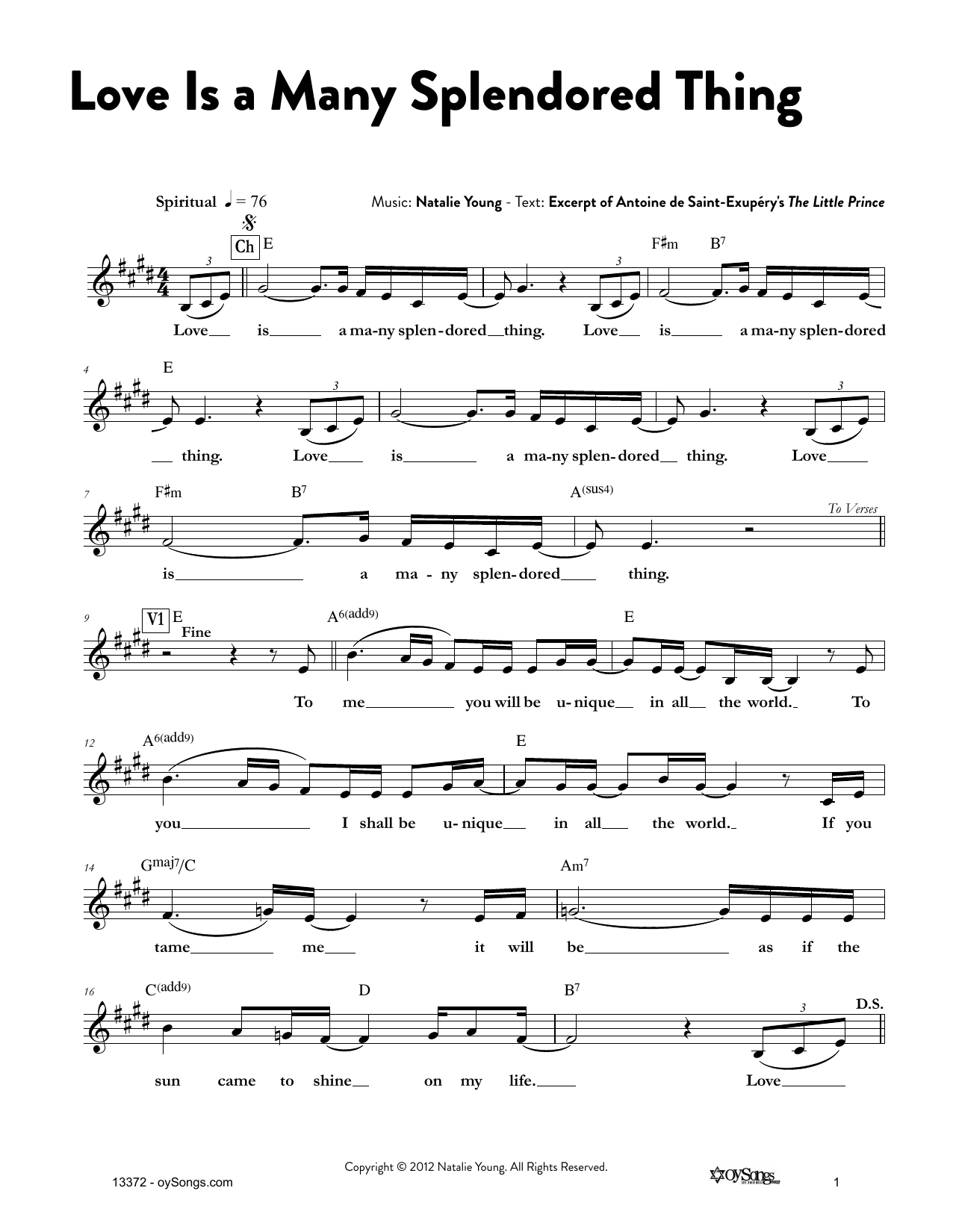 Love Is a Many Splendored Thing Sheet Music