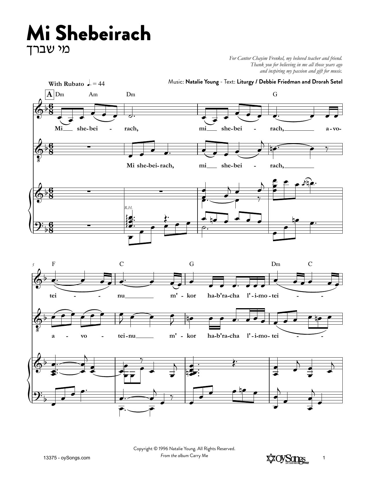 Mi Shebeirach Sheet Music