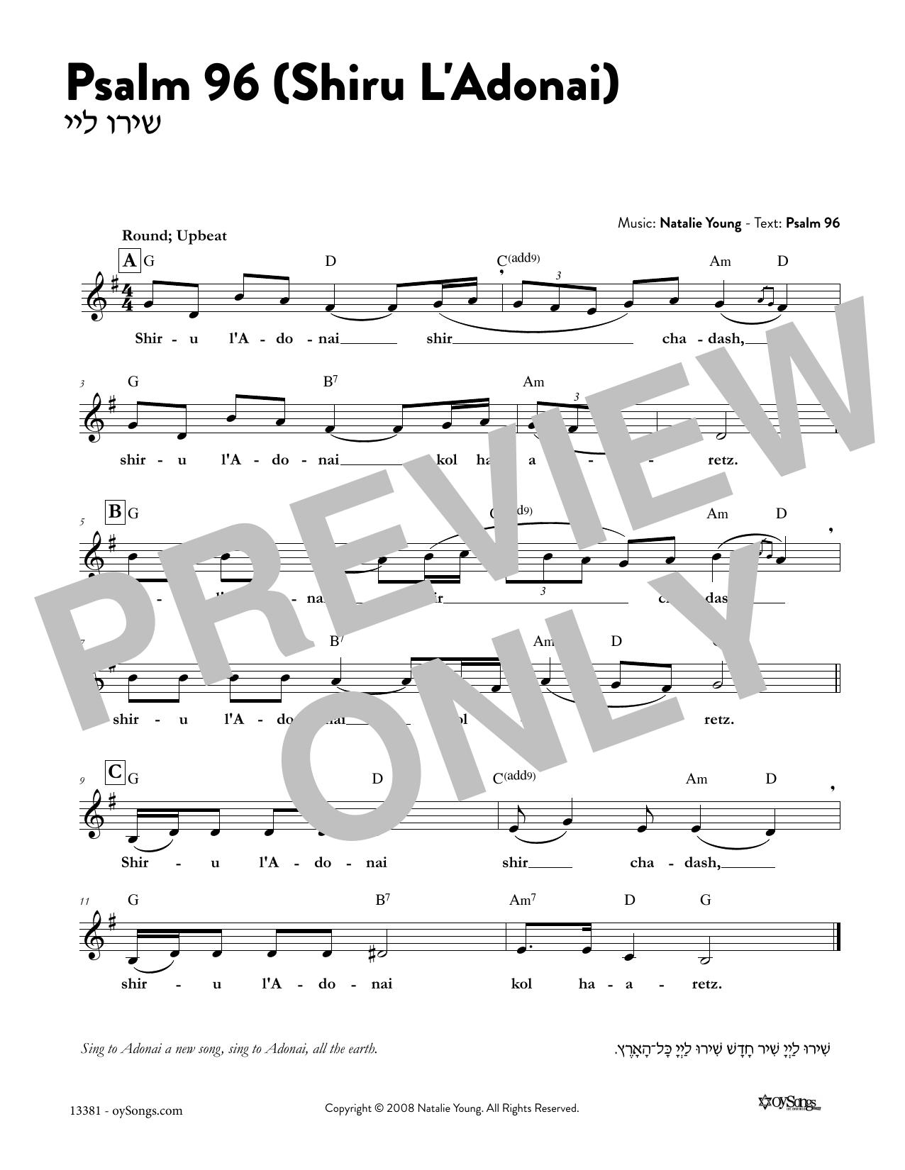 Psalm 96 - Shiru L'Adonai Sheet Music