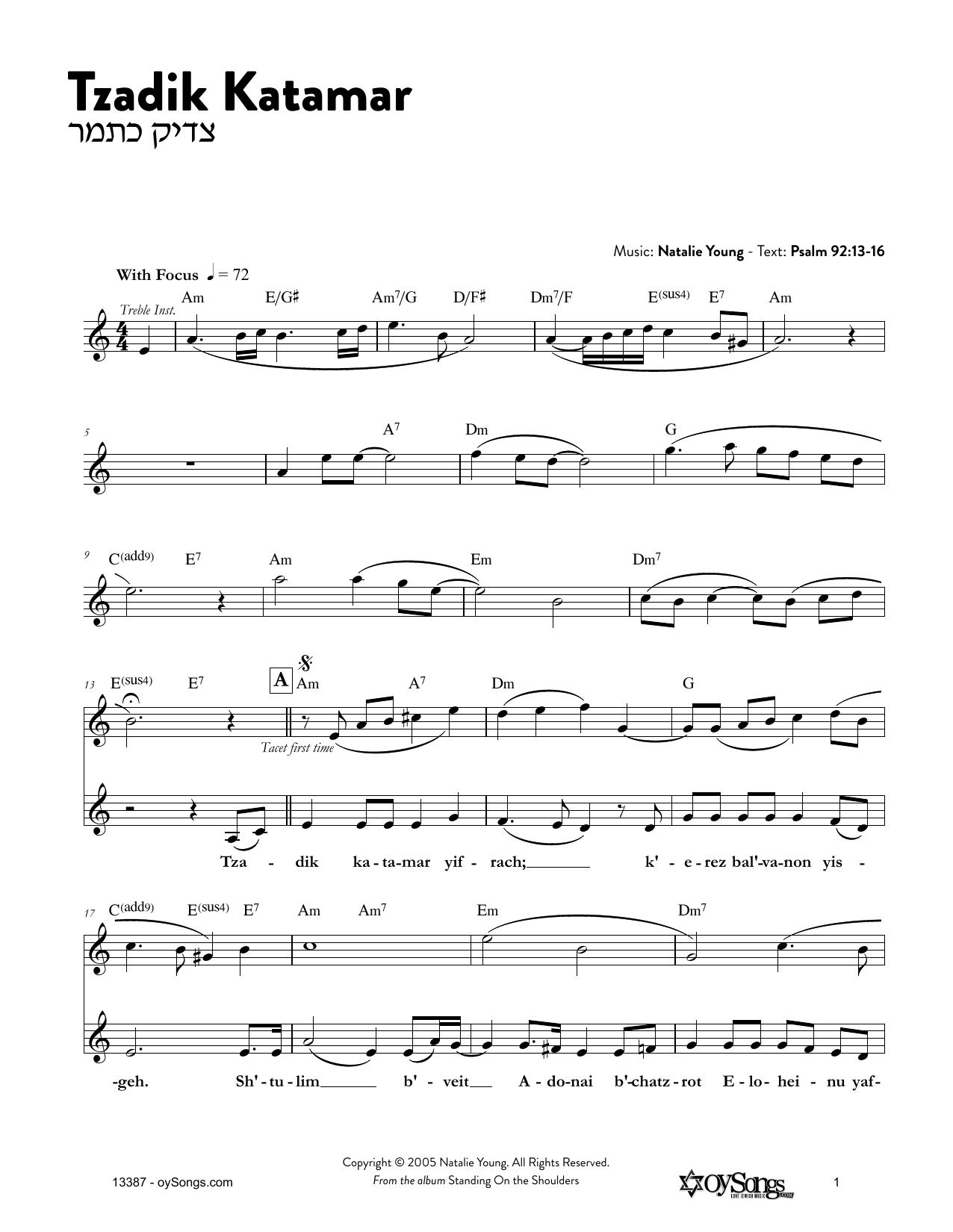 Tzadik Katamar Sheet Music