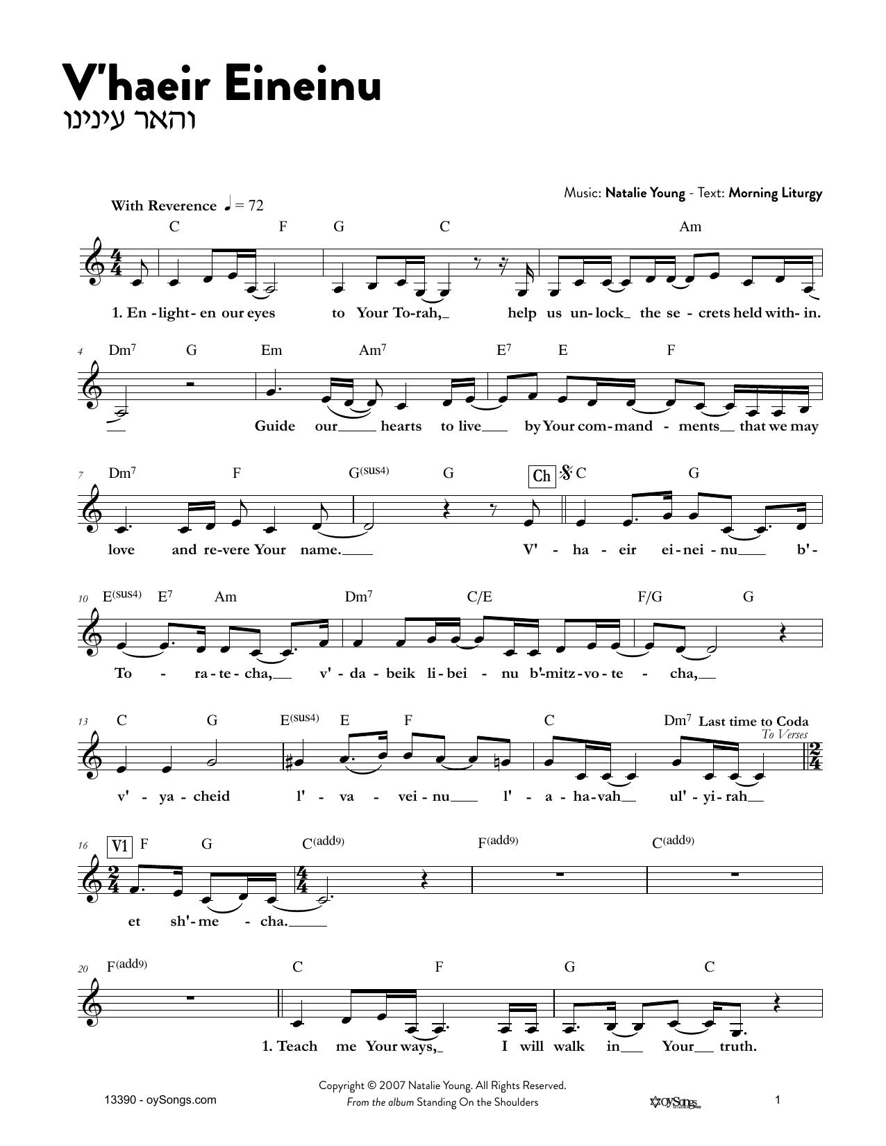 V'haeir Eineinu Sheet Music