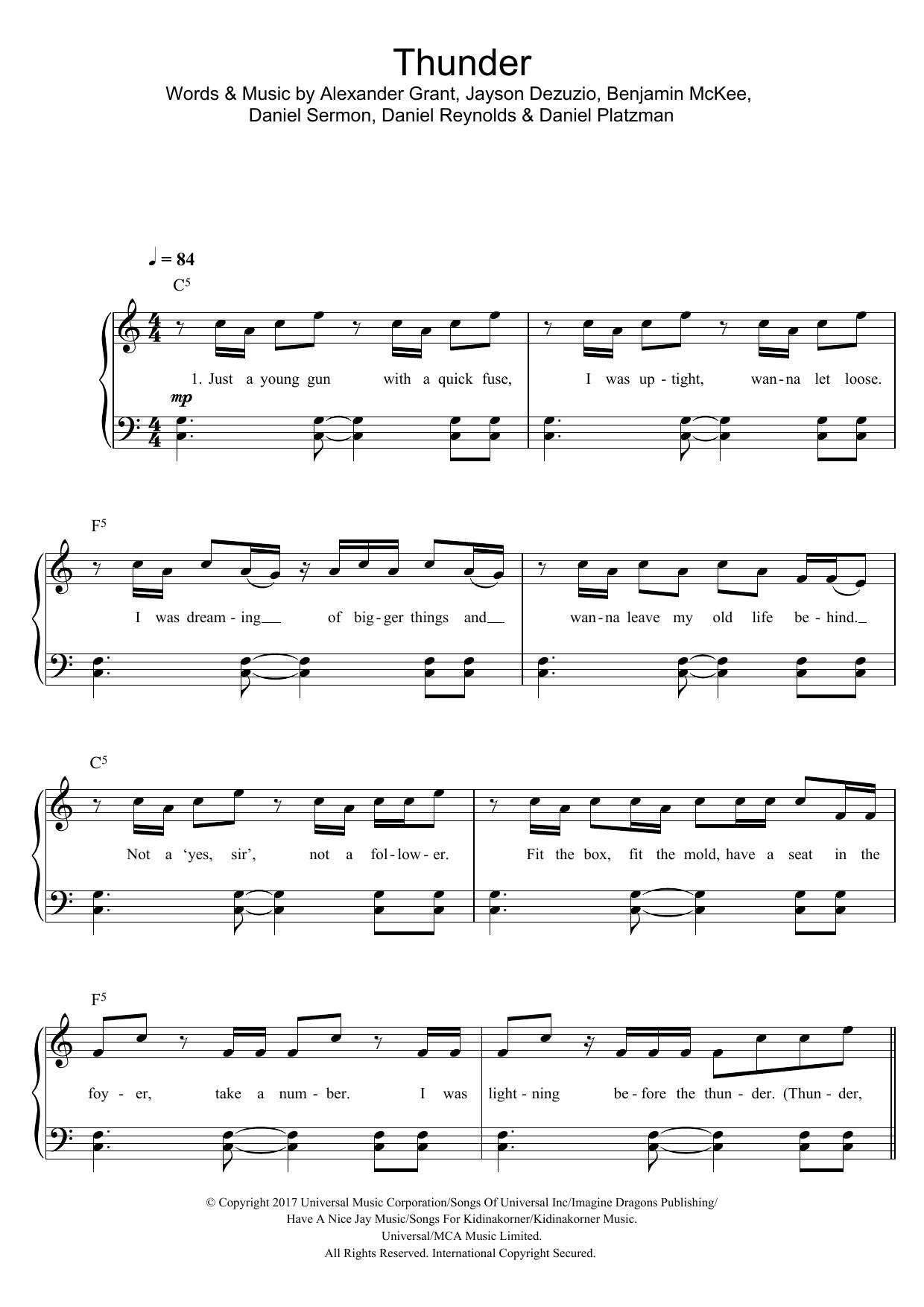Thunder (Easy Piano)