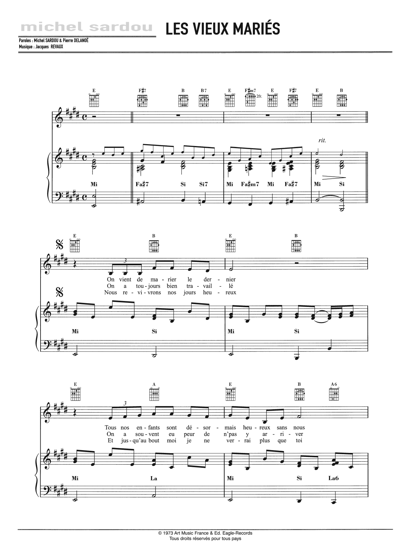 Les Vieux Maries Sheet Music