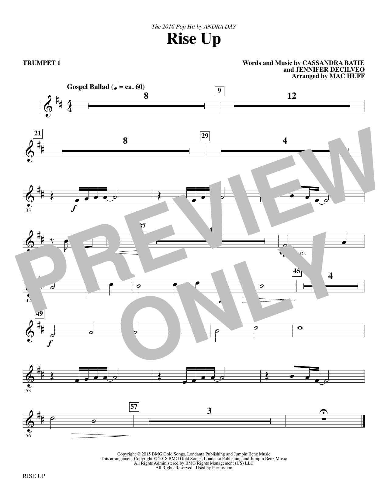 Rise Up (arr. Mac Huff) - Trumpet 1 (Choir Instrumental Pak)