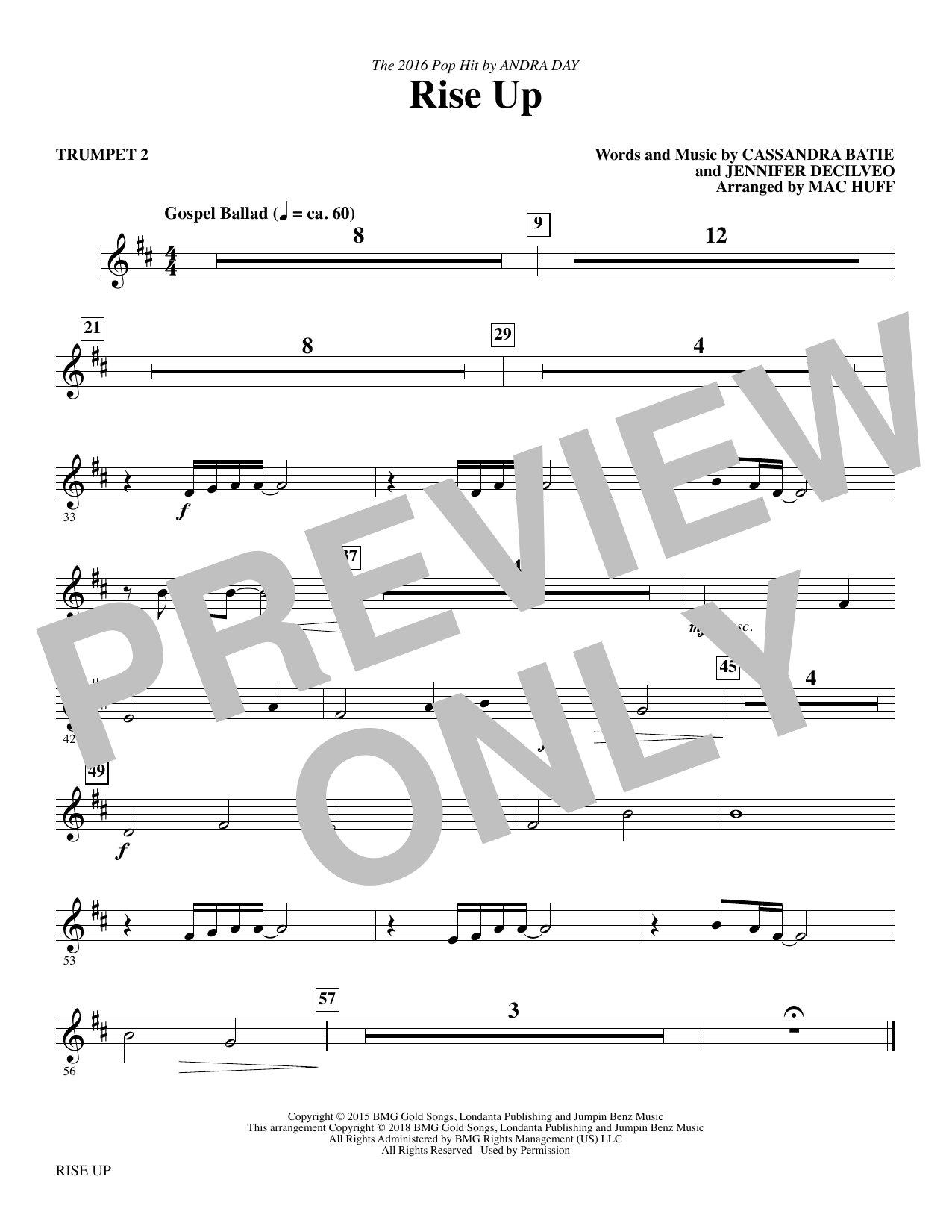 Rise Up (arr. Mac Huff) - Trumpet 2 (Choir Instrumental Pak)