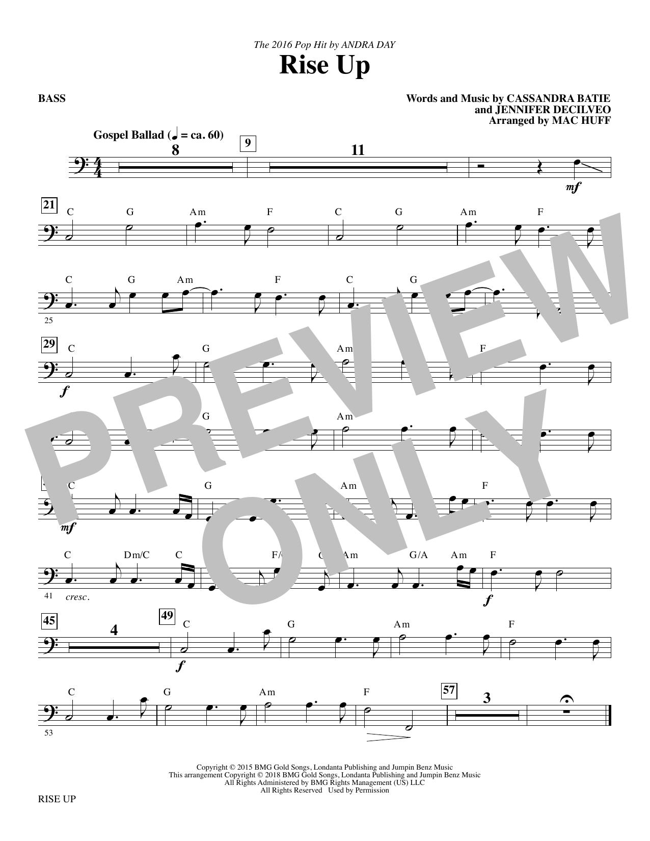 Rise Up (arr. Mac Huff) - Bass (Choir Instrumental Pak)