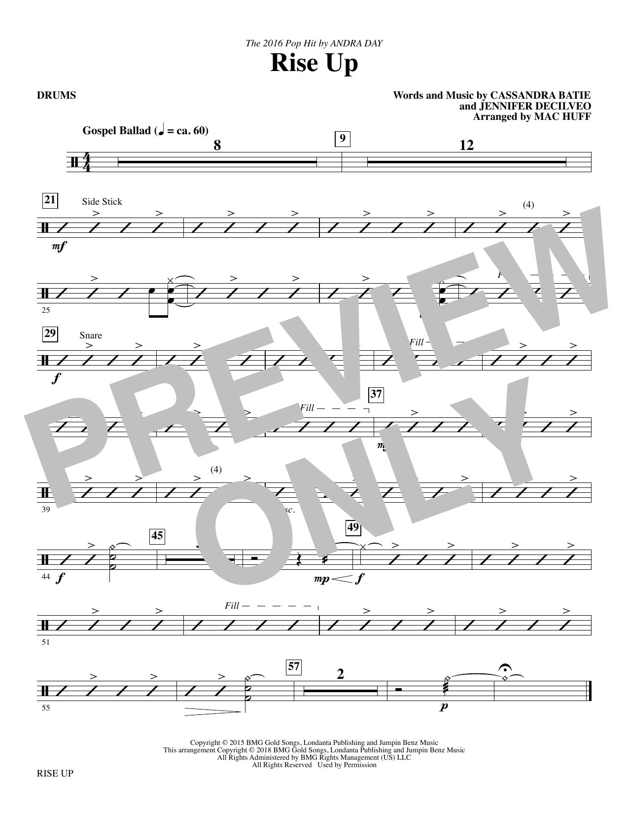 Rise Up (arr. Mac Huff) - Drums (Choir Instrumental Pak)
